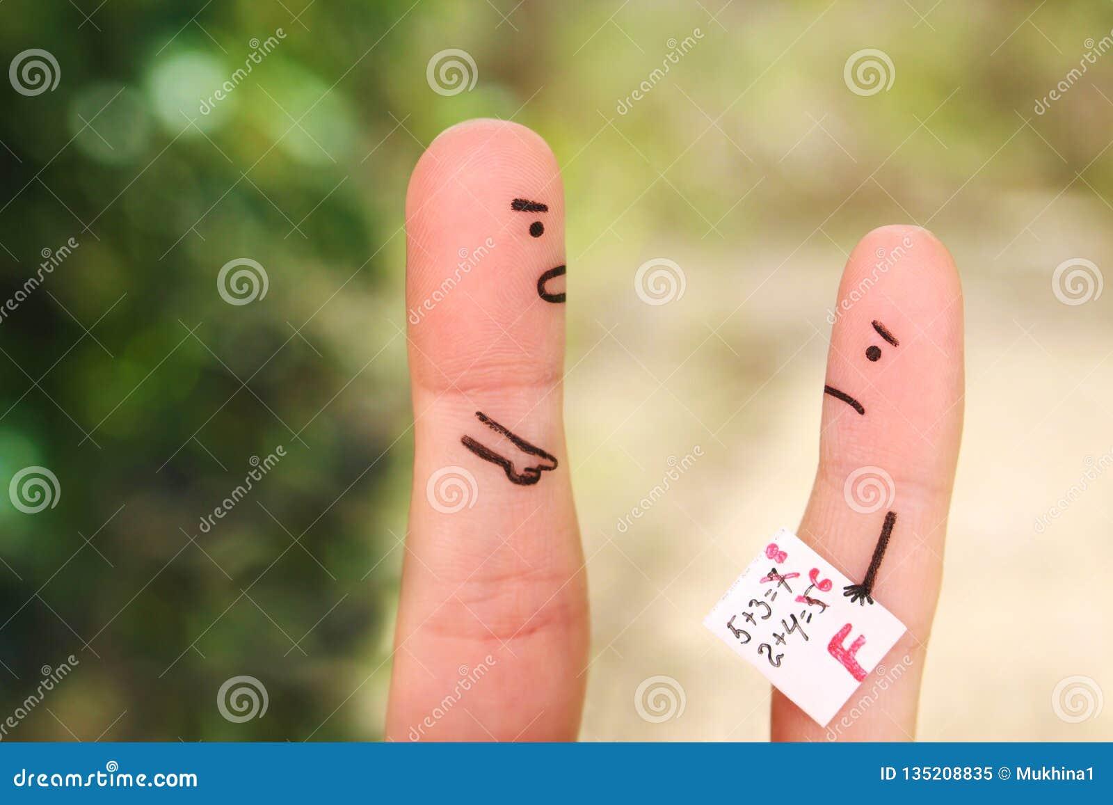 Fingers art of people. Concept of boy got bad grade, man scolding child