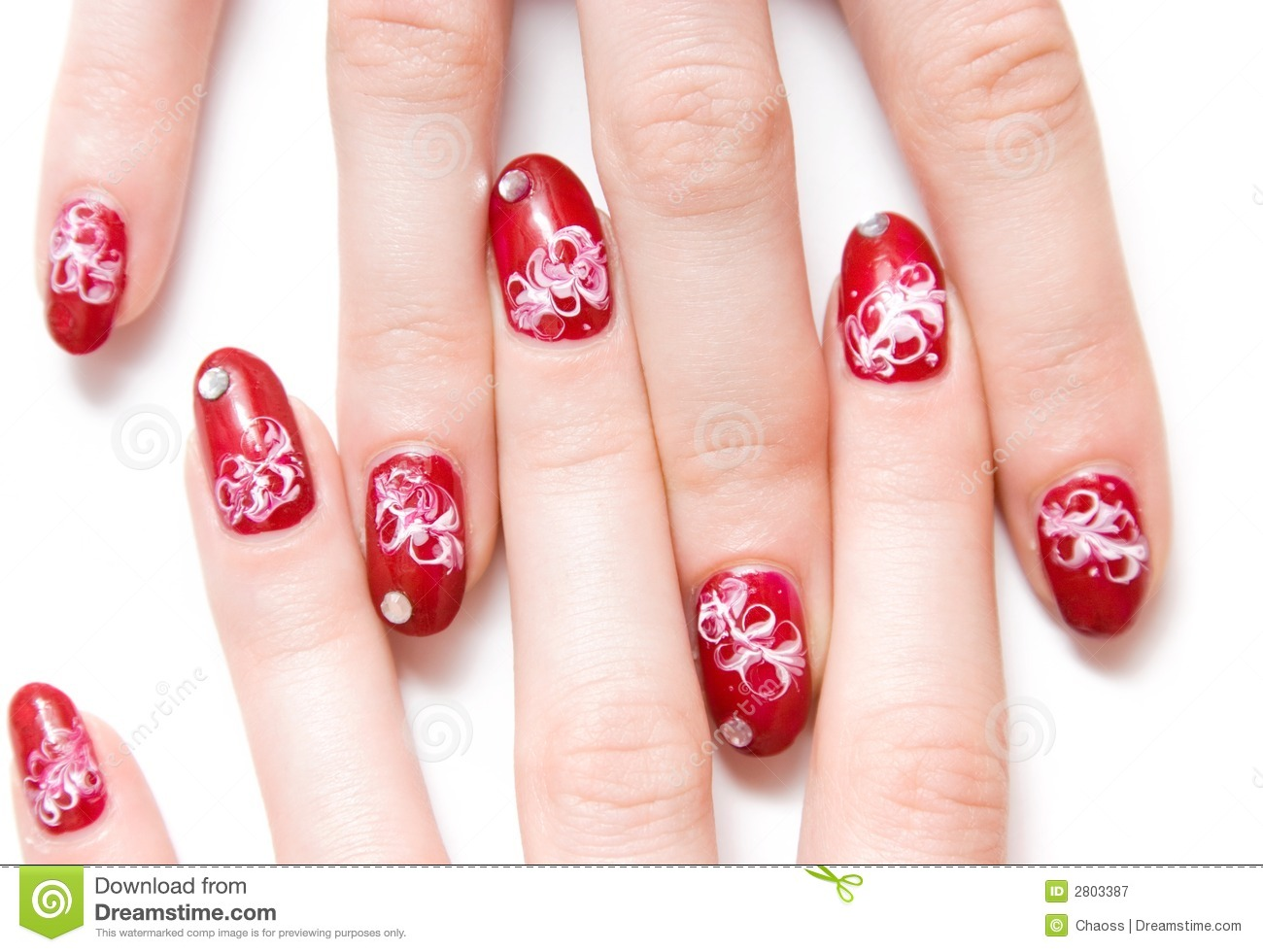 Fingers With Decorated Nails Stock Image