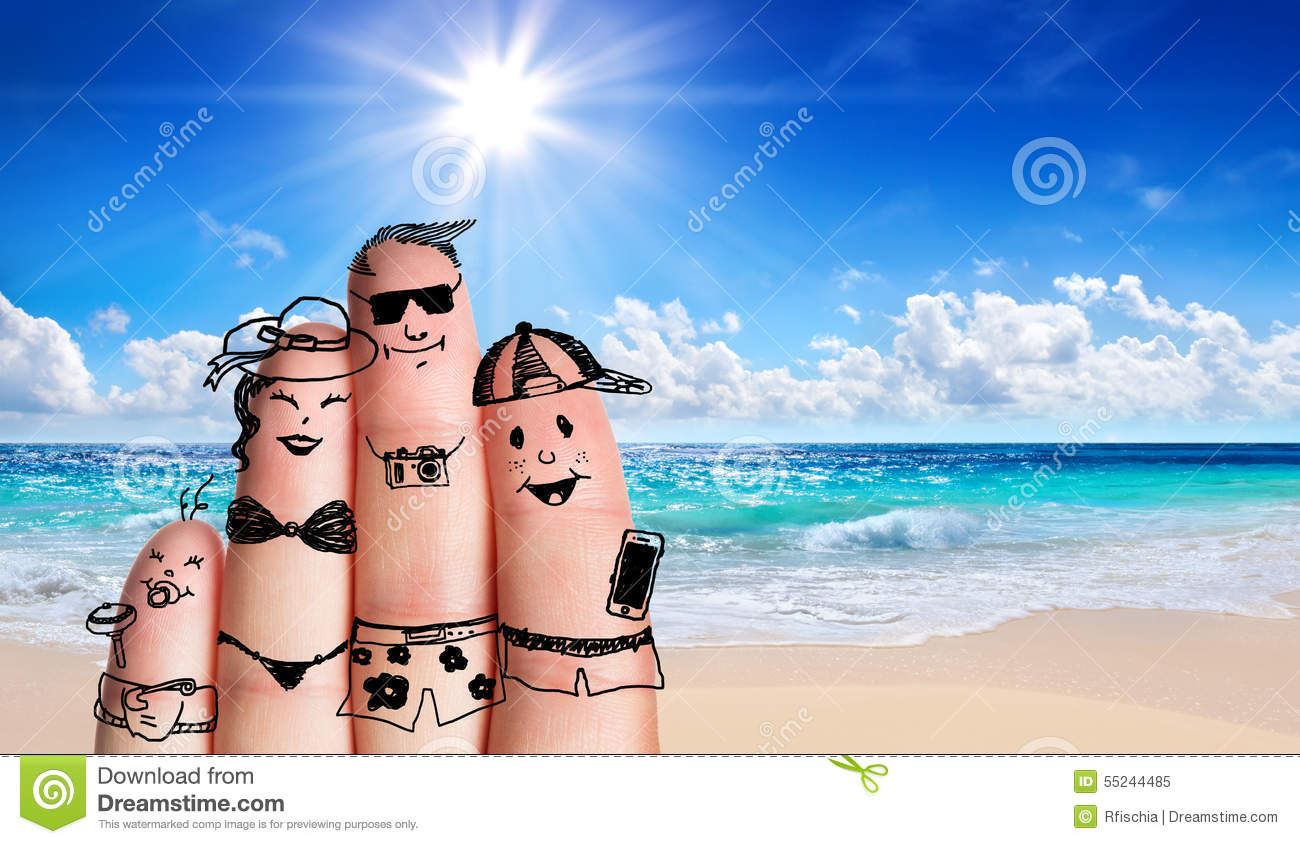 Fingers family on the beach