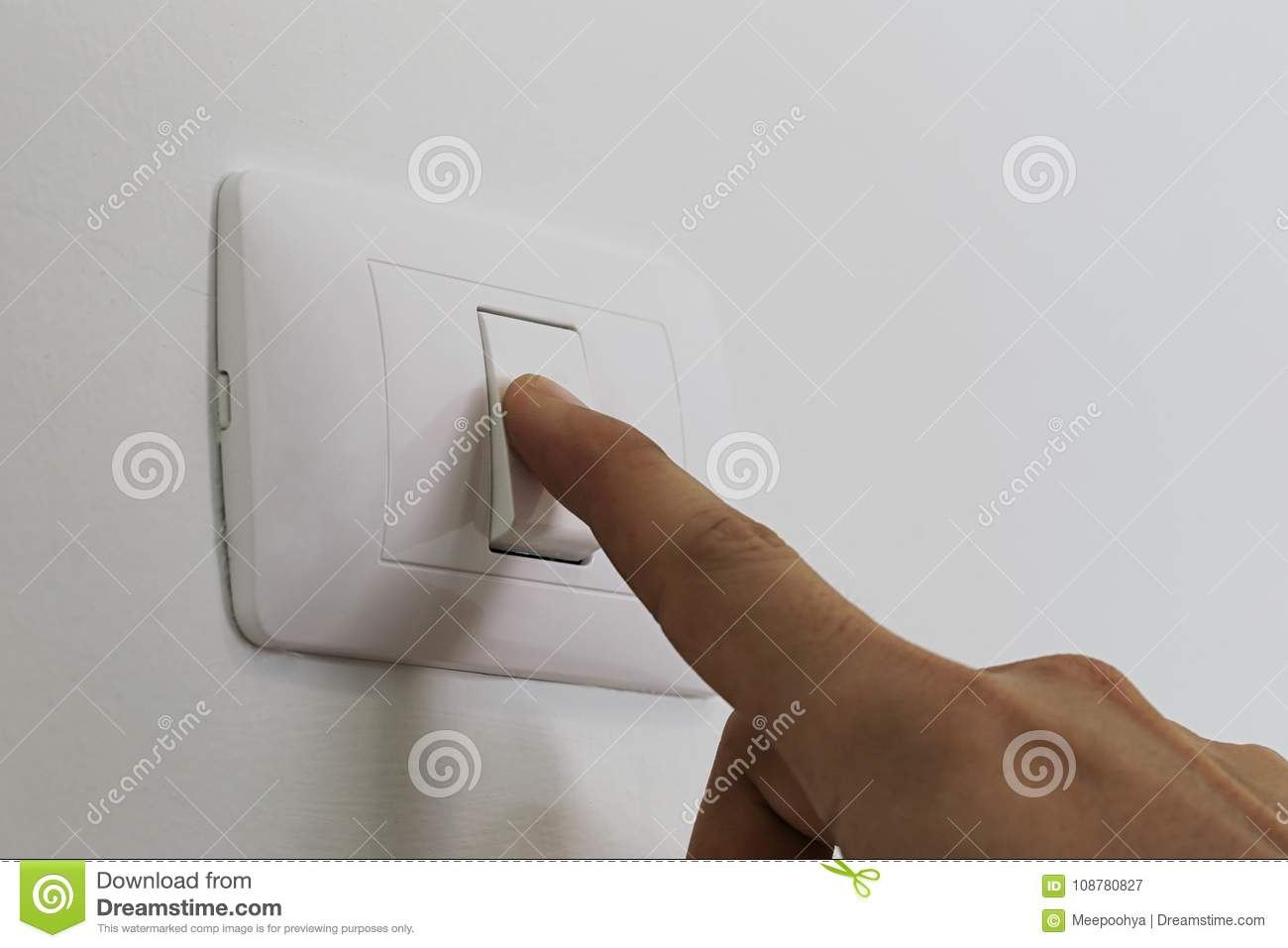 Fingers Are Turning Off Light Switch In The House. Stock Image ...