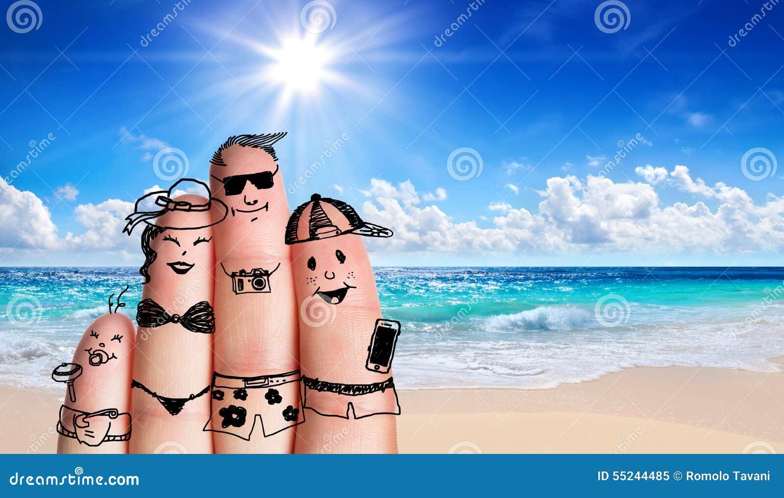 Fingrar familjen på stranden
