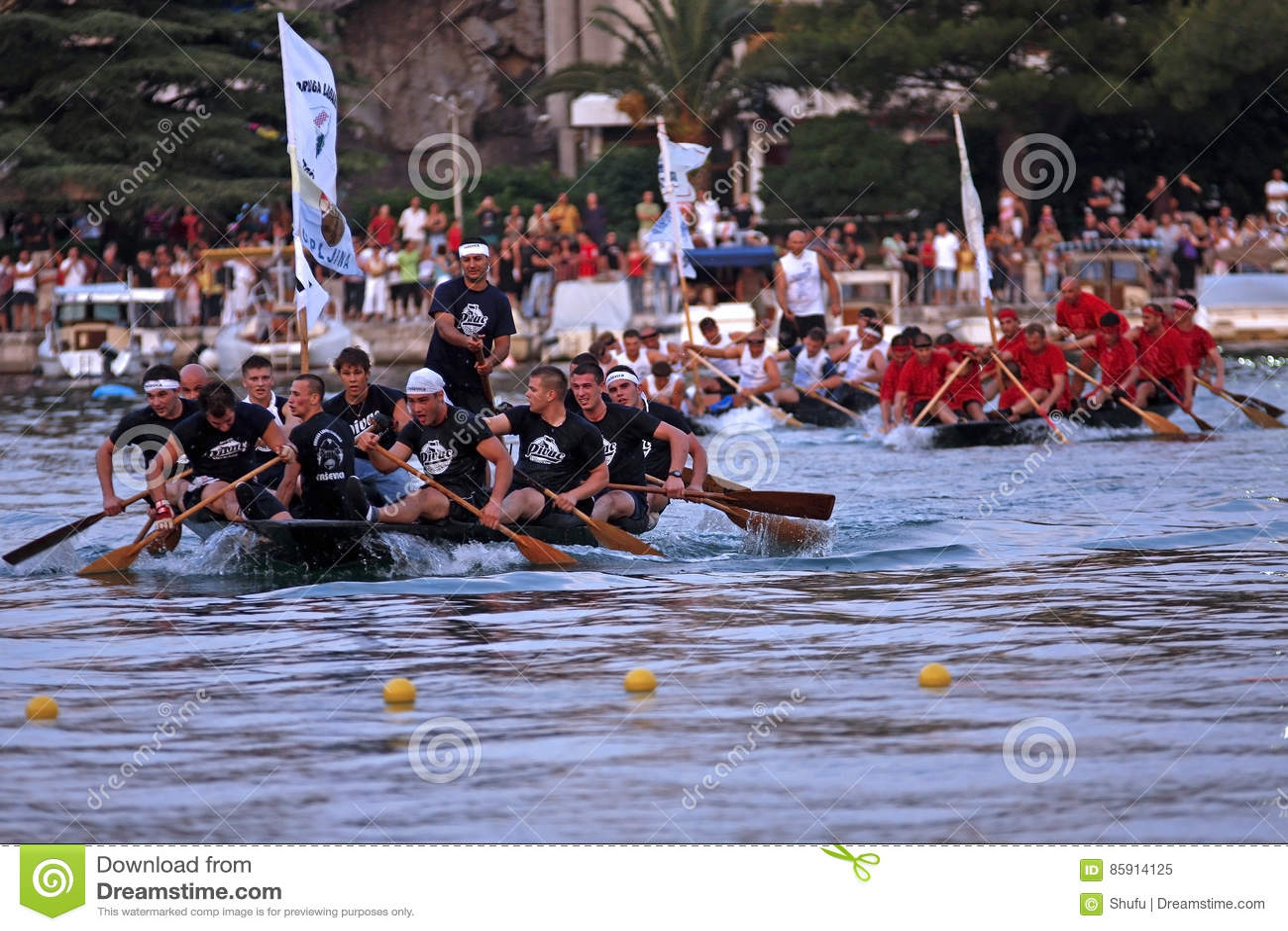 Finish line of a boat marathon on the Neretva River