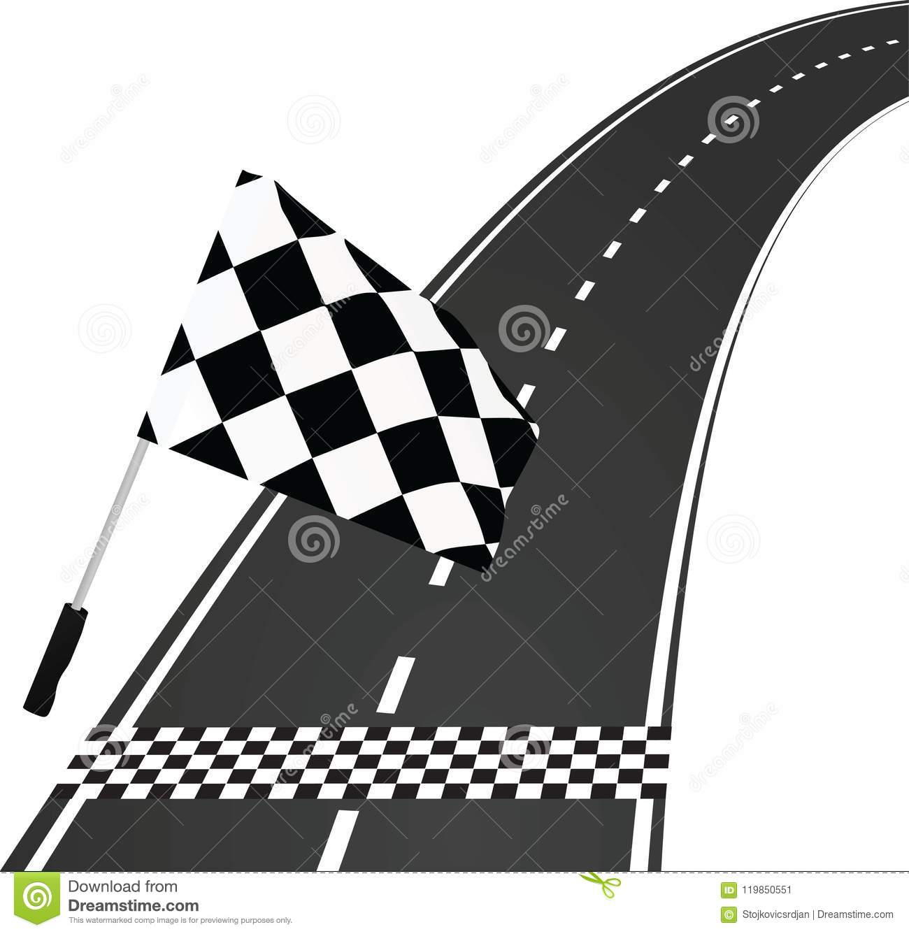 finish line with flag stock vector illustration of auto 119850551