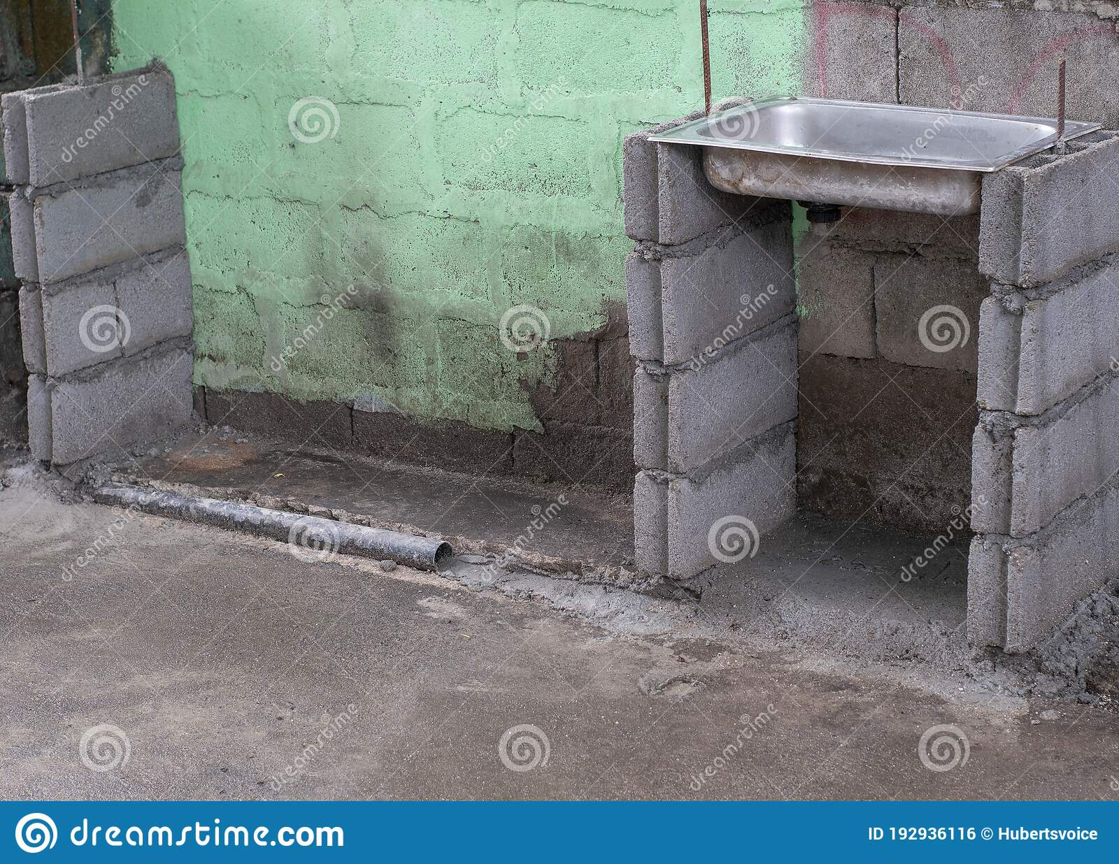 Kitchen Sink On Old Cement Hollow Block Wall Stock Photo Image Of Outside Concrete 192936116