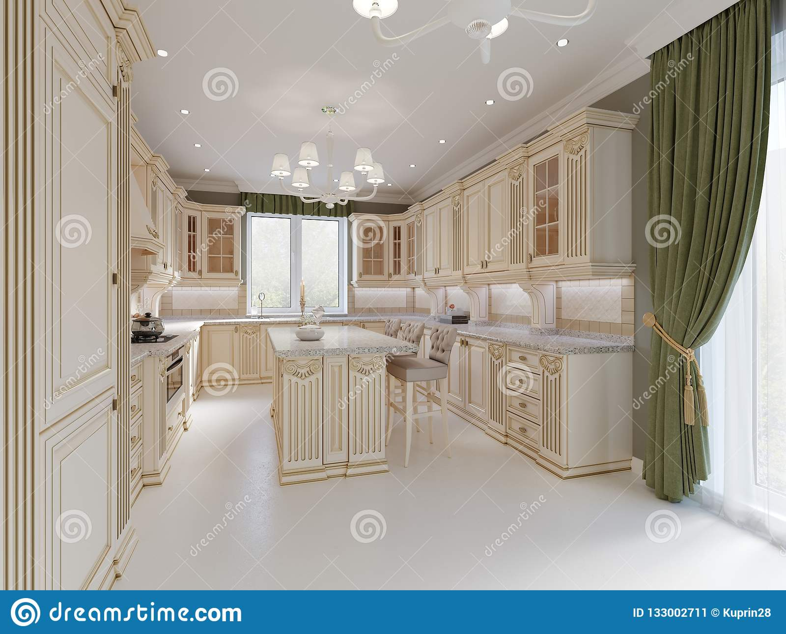 Finished project of classic kitchen with wooden details and marble floor luxury light interior design 3d rendering