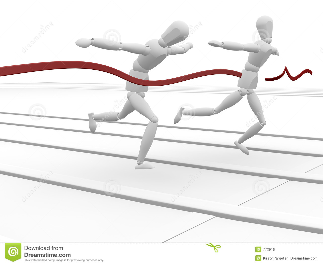 In Line Finishing : Woman finishing through red tape royalty free stock image