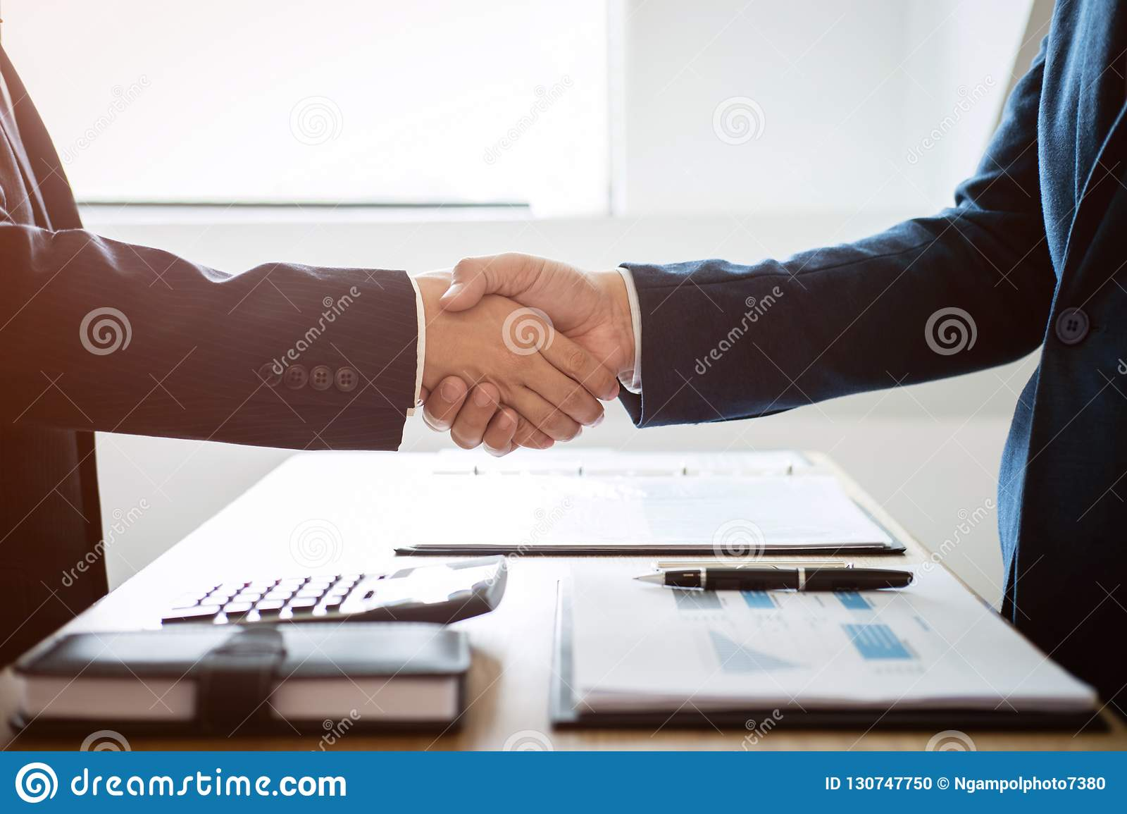 Finishing up a meeting, handshake of two happy business people a