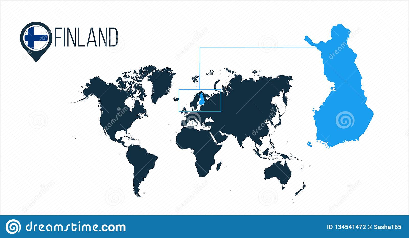 Finland Location On The World Map For Infographics. All ...