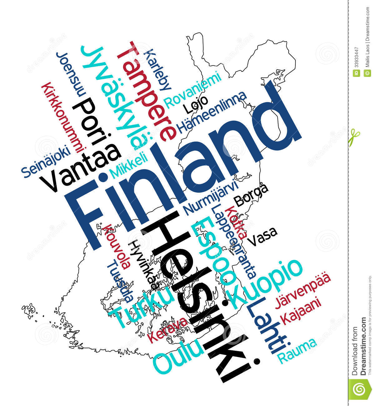 Download Finland map and cities stock vector. Illustration of travel - 33933447