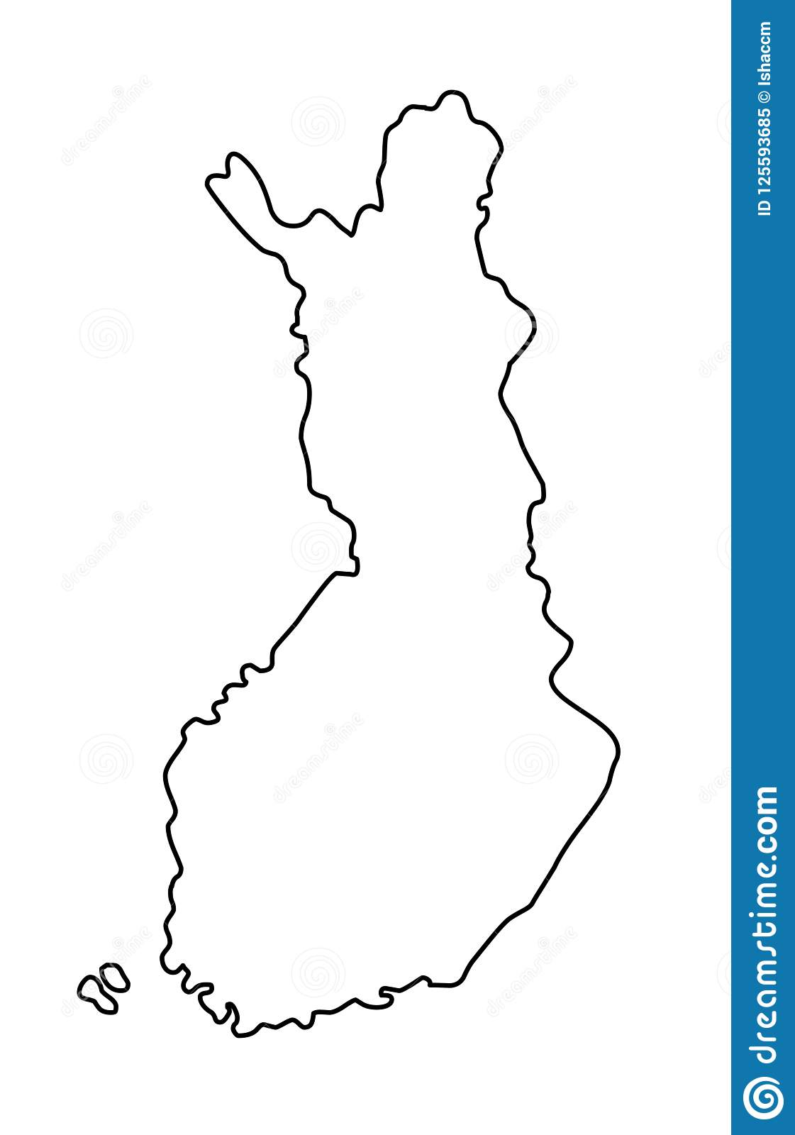 Finland Outline Map Vector Illustration Stock Vector ...