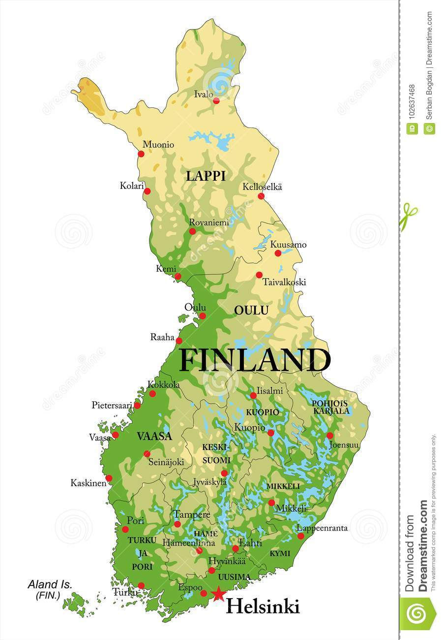 Finland Relief map stock vector Illustration of travel 102637468