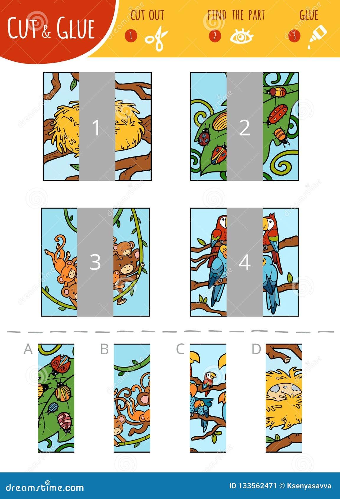 Finna den högra del-, snitt- och limleken för barn set vektor för djurtecknad filmillustration