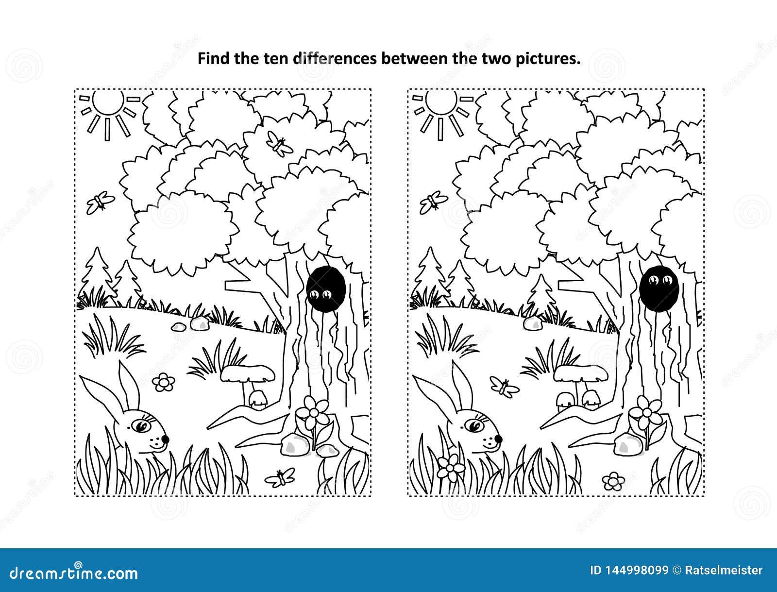 Finna den visuella pussel- och färgasidan för skillnader med naturplats