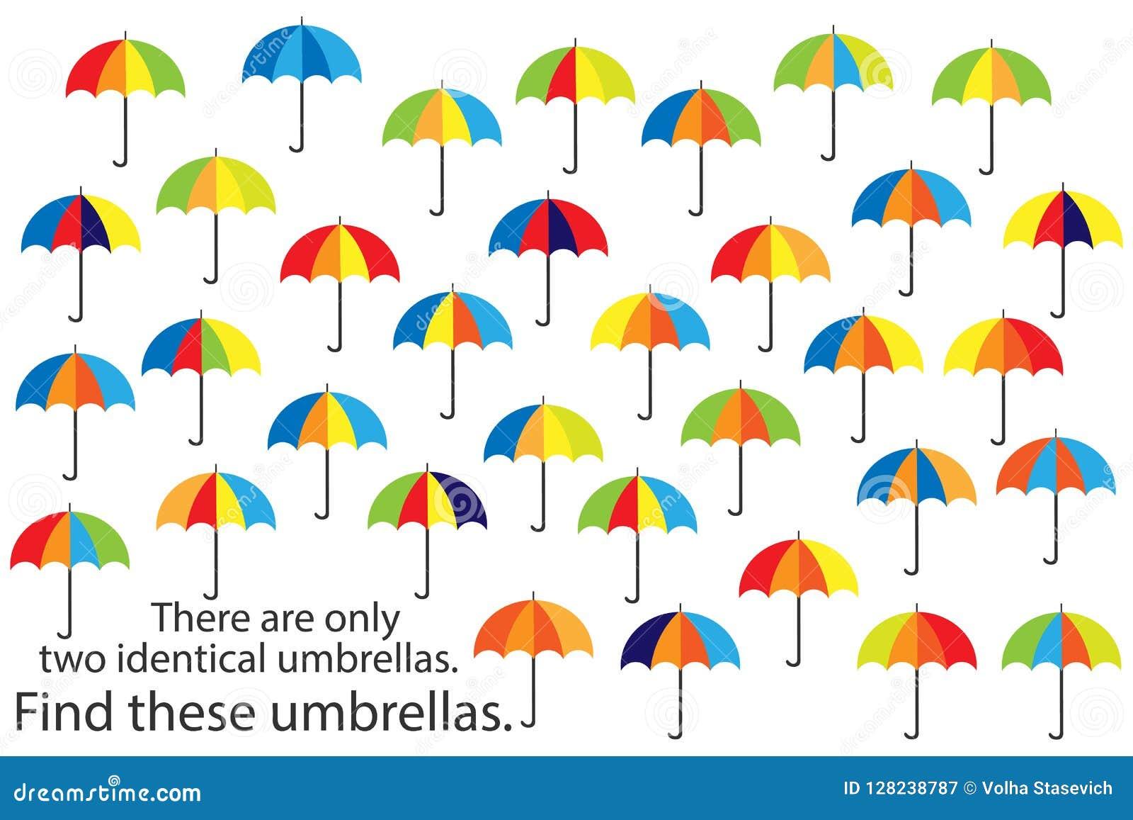 Finna endast två samma paraplyer, den roliga leken för utbildningshöstpusslet för barn, förskole- arbetssedelaktivitet för ungar,