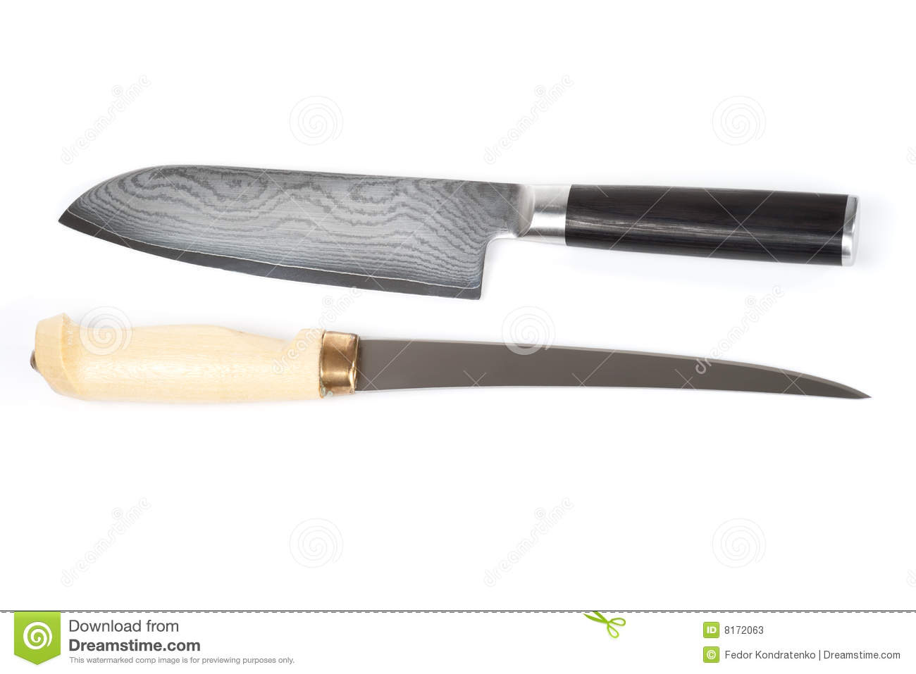 Finnish And Japanese Knives Isolated On White Stock Image