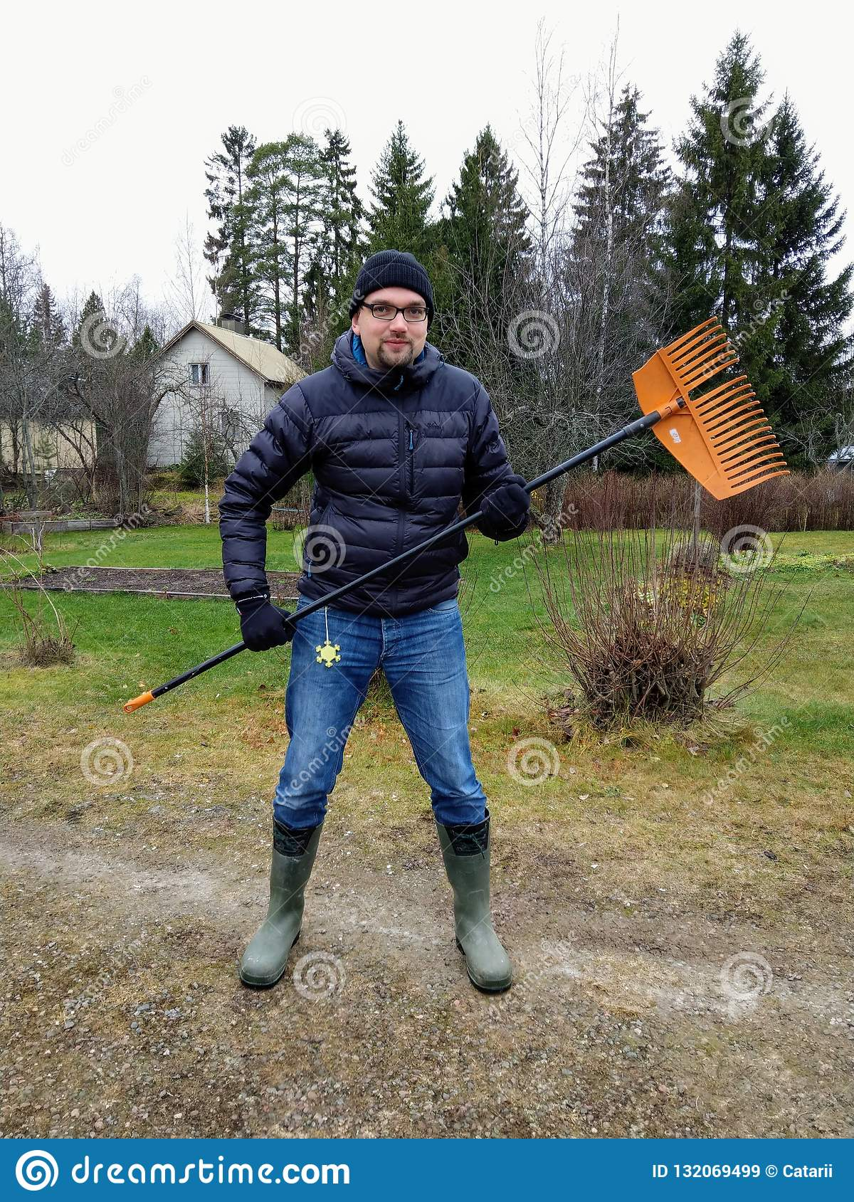 Finnish man preparing to go in the forest to rake leaves
