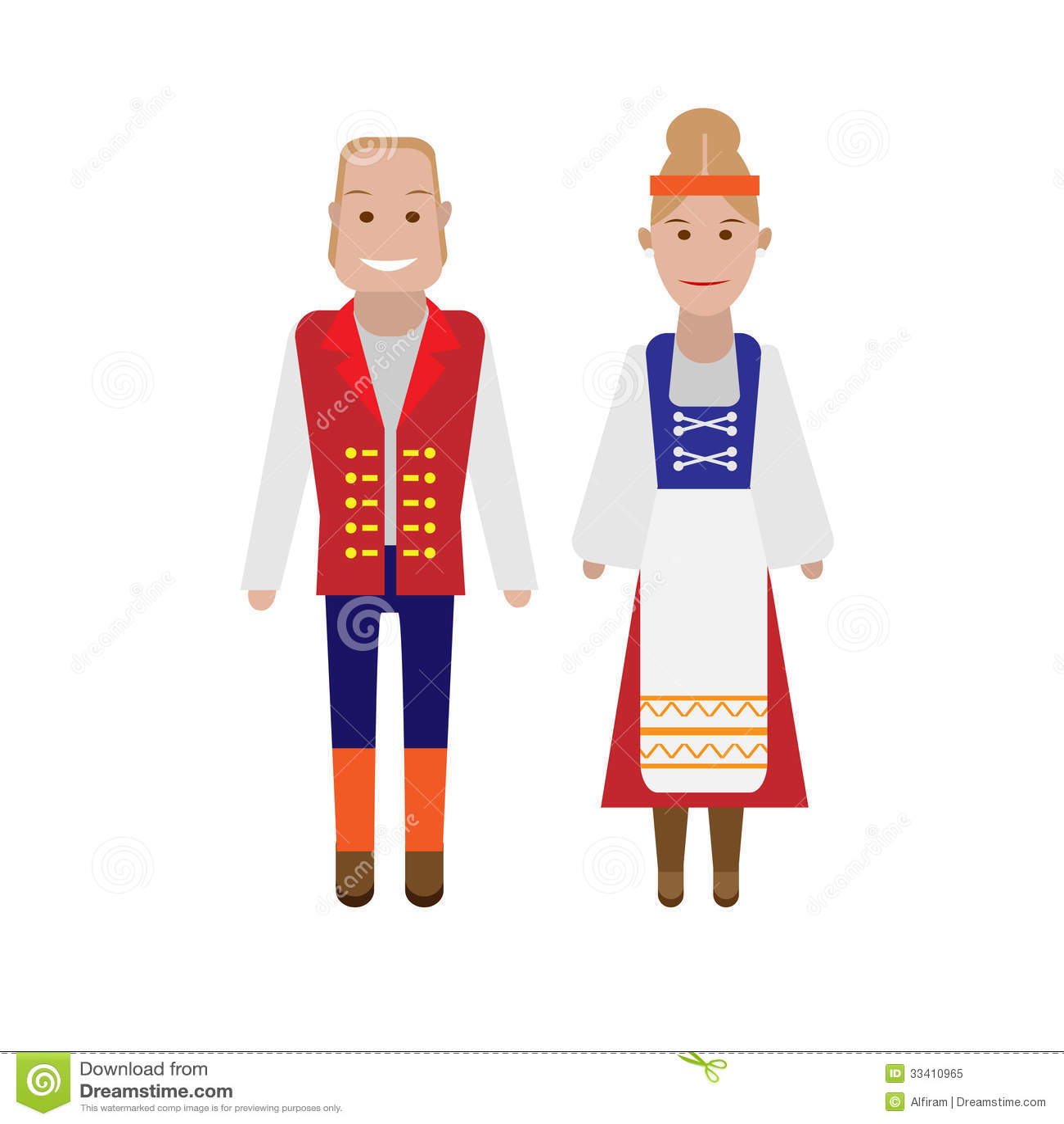 Art Unlimited Sportswear: Finnish National Costume Stock Vector. Illustration Of