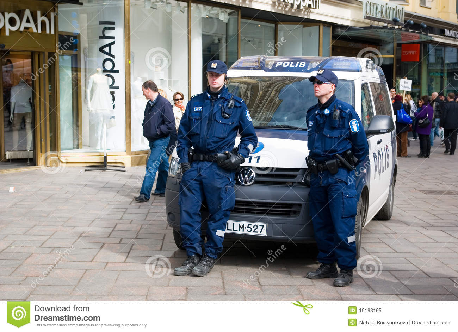 Two finnish policemen keep order. Helsinki. Finland.