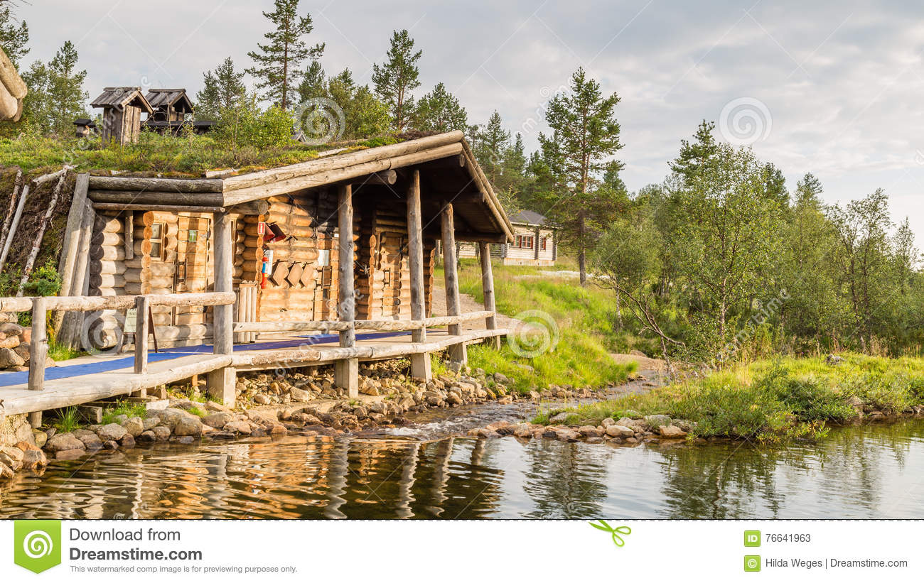 Finnish wooden loghouse in Lapland Europe