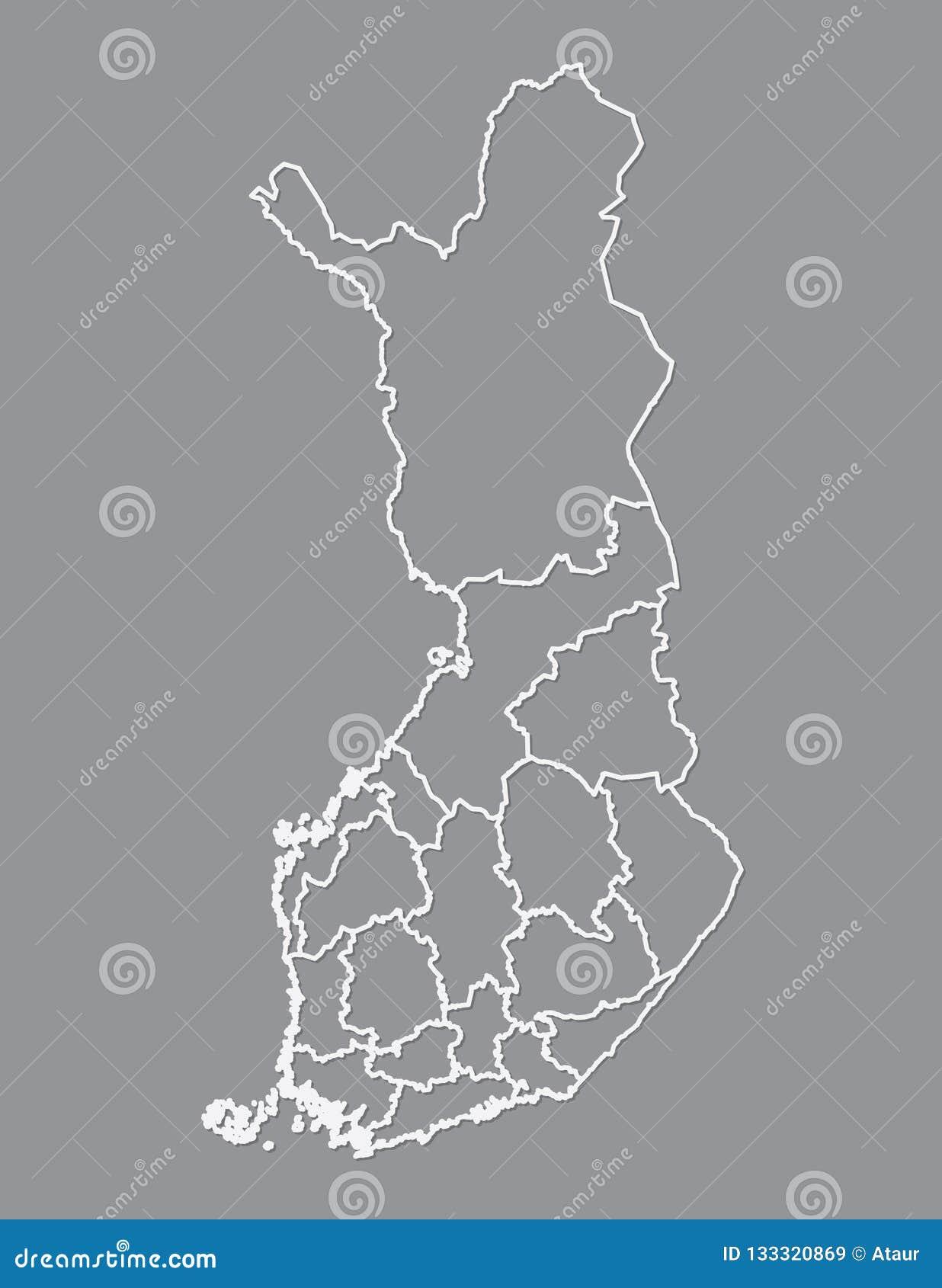 Finnland-Karte mit verschiedenen Regionen unter Verwendung der weißen Linien auf dunklem Hintergrundvektor