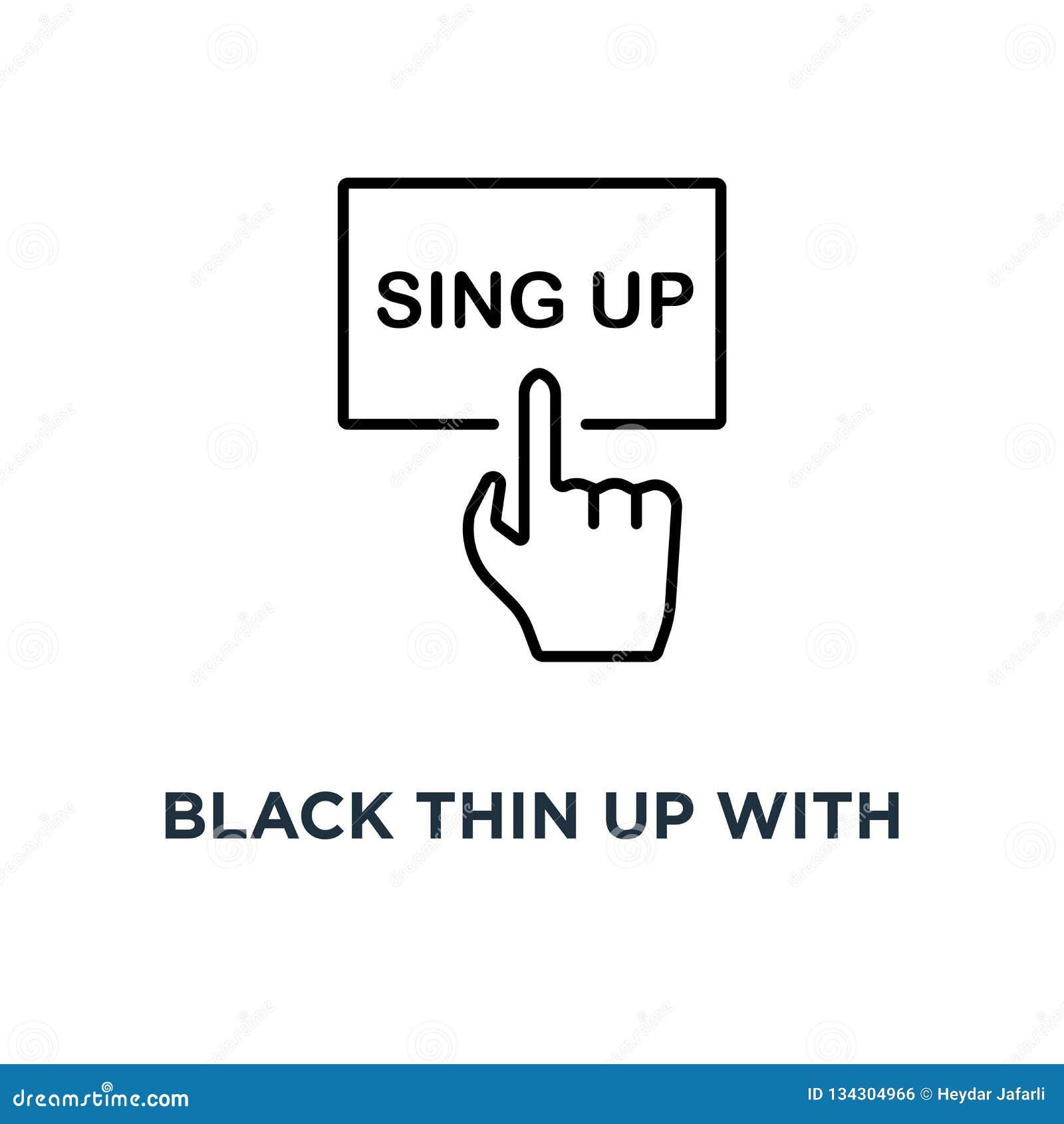 Fino negro para arriba con el icono de la mano, el concepto de diseño moderno del arte gráfico del logotipo de la tendencia del e