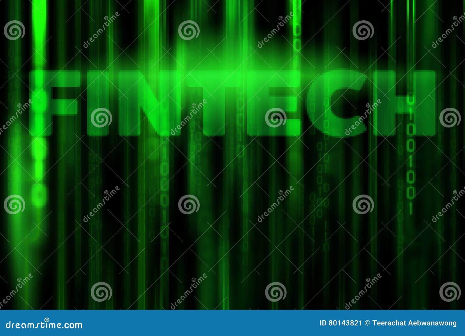 FINTECH en fondo de la matriz del código binario de los datos