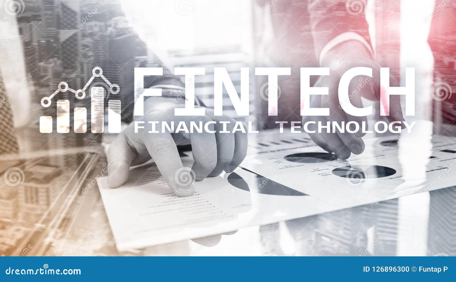 FINTECH - Financiële technologie, de globale zaken en communicatietechnologie van informatieinternet Wolkenkrabbersachtergrond Ha
