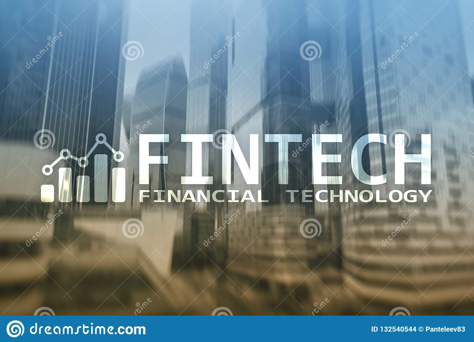 FINTECH - Financial technology, global business and information Internet communication technology. Skyscrapers background. Hi-tech
