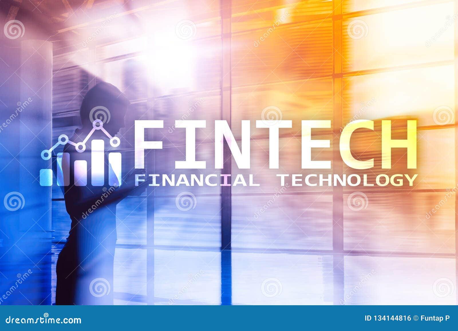 FINTECH - Financial technology, global business and information Internet communication technology. Skyscrapers