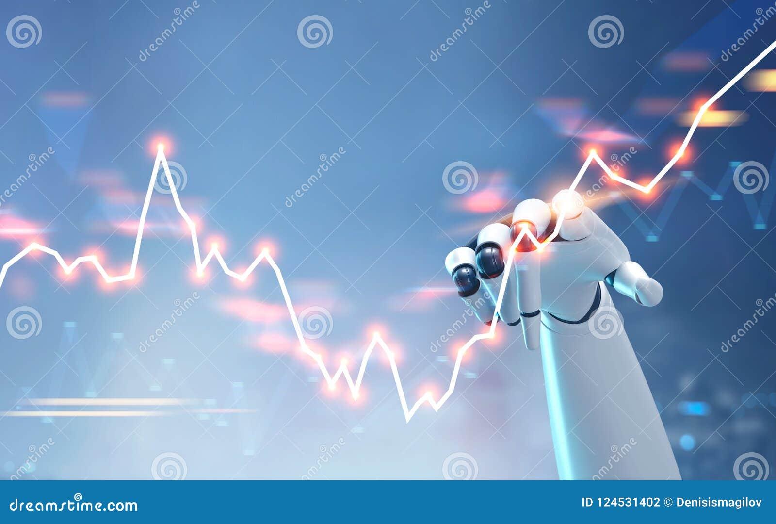 Fintech tocante da relação do gráfico dos estrangeiros da mão do robô illustrati 3d