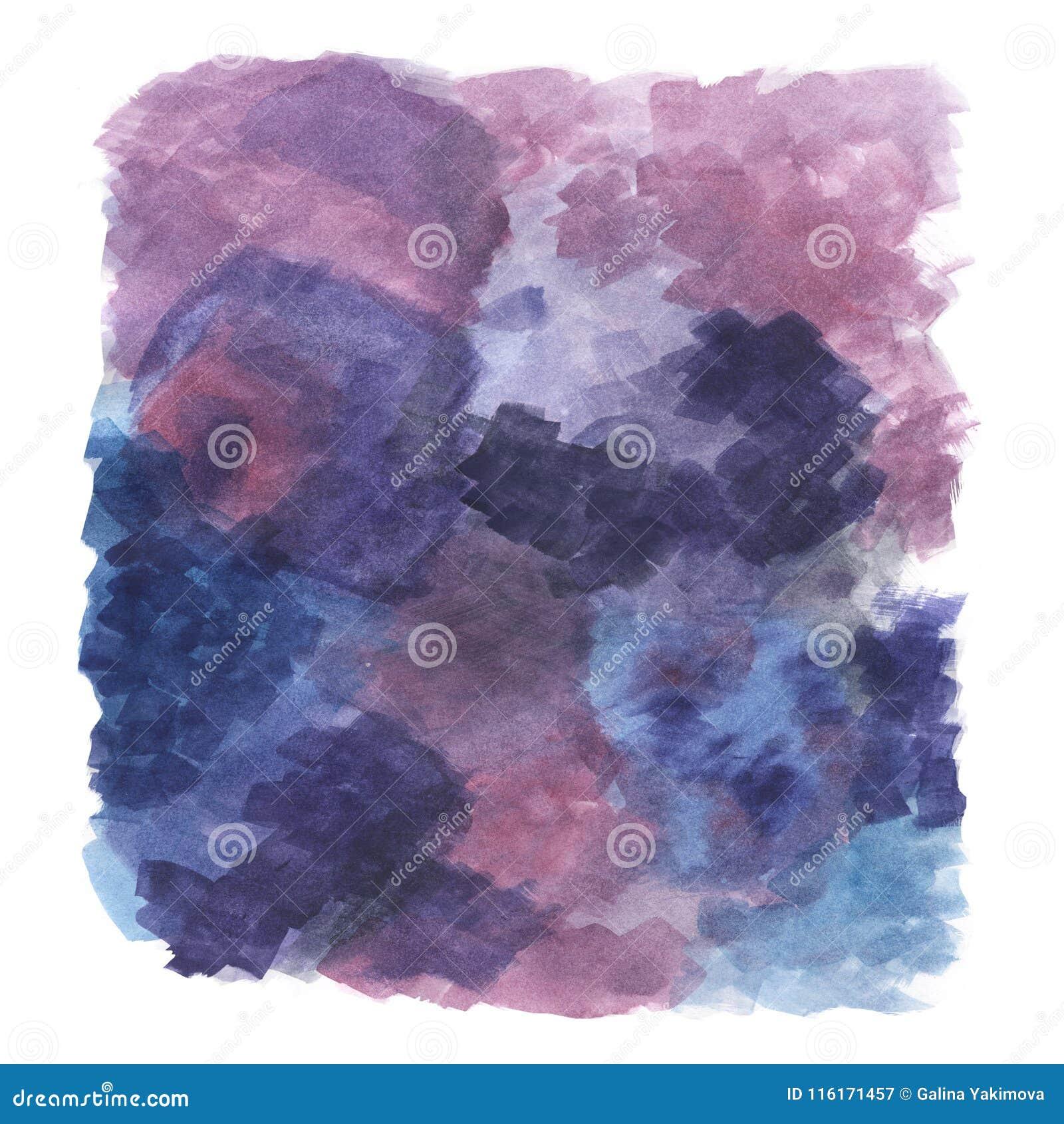 Fiołek, purpurowa abstrakcjonistyczna ilustracja pociągany ręcznie akwarela obraz, artystyczny tło