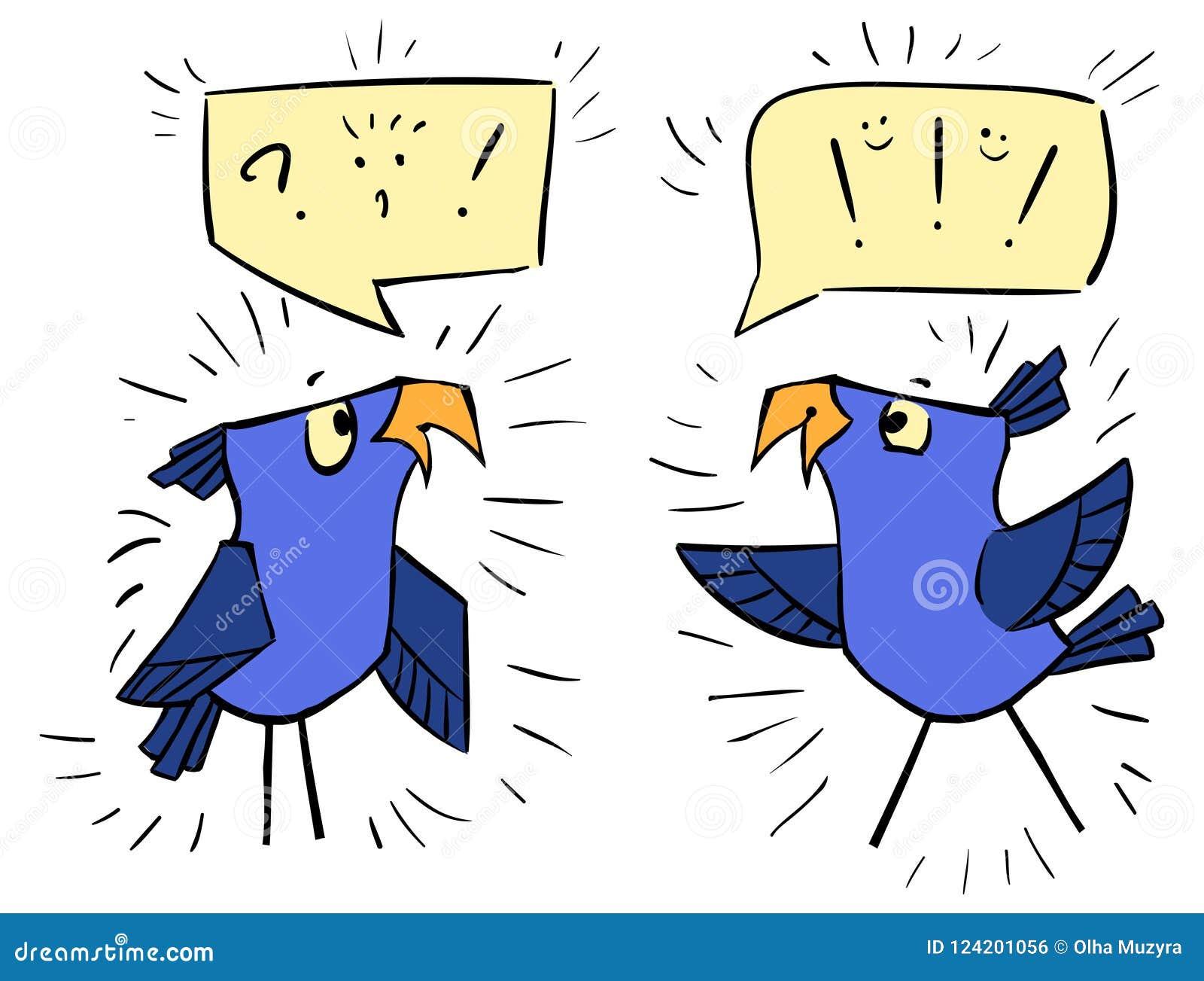 Fiołkowi ptaki z bąblami - emocja szok, radość, zawtydza