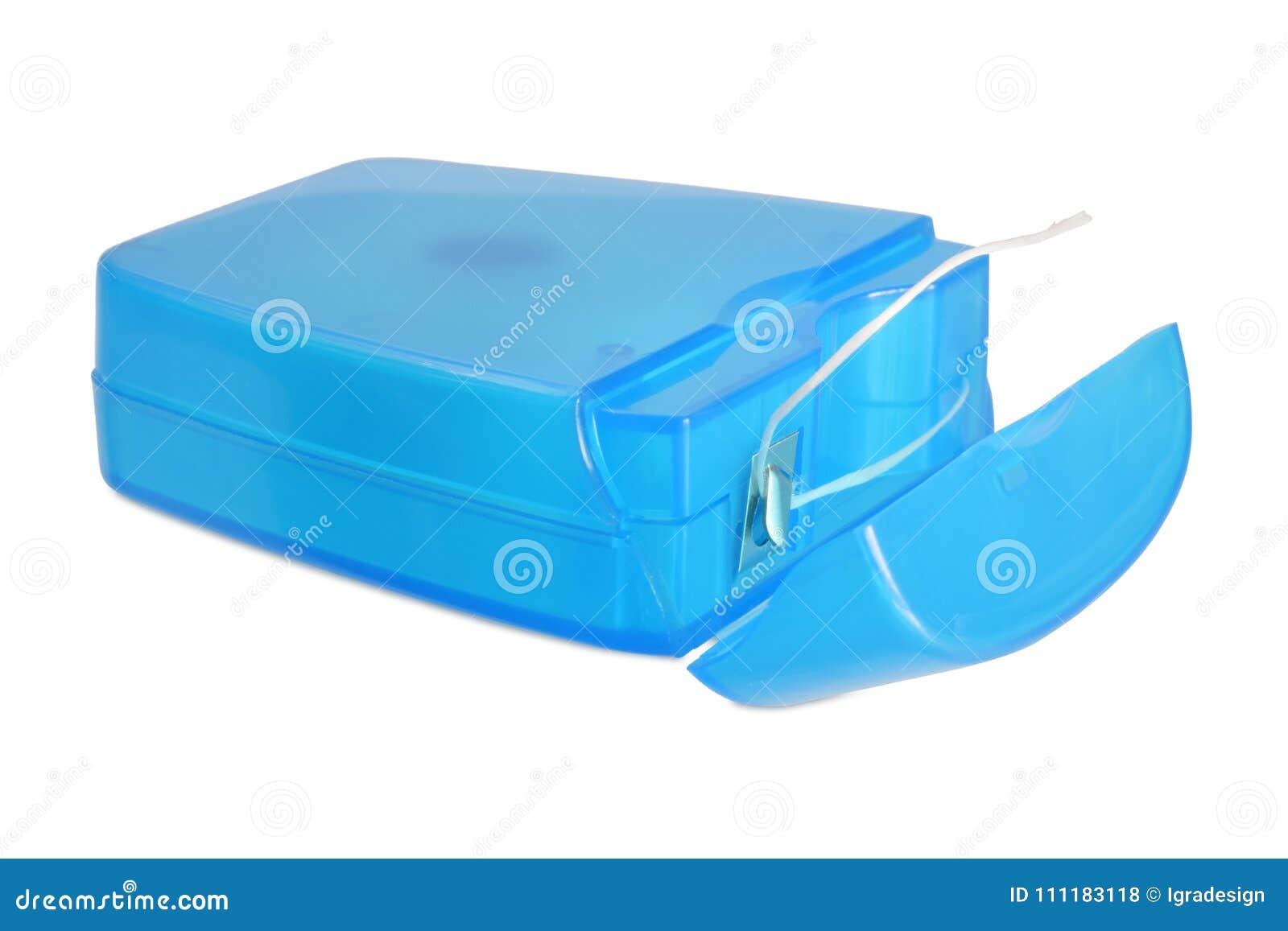 4e50bbe2d Fio dental em fechado aberto lastic da caixa do ¼ azul de à isolado acima  no branco