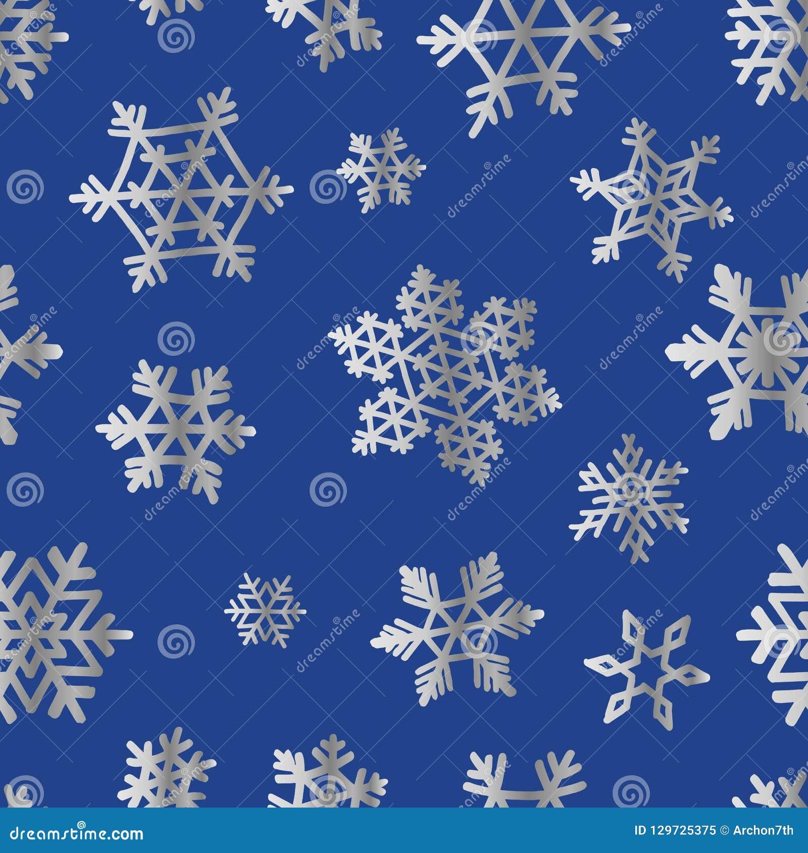 Fiocchi di neve d argento sul blu per il modello del papper del contenitore di regalo di Natale