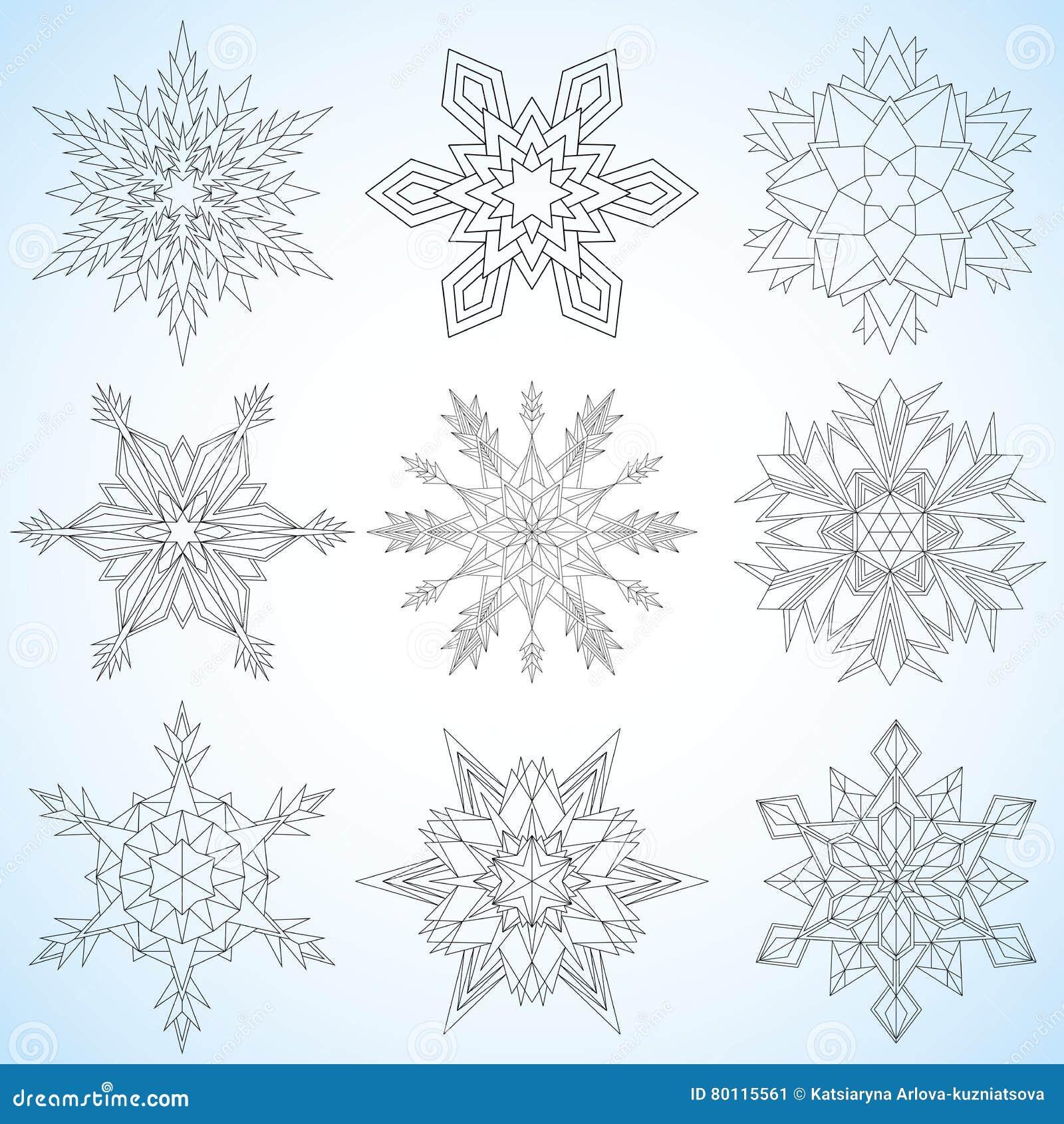 Fiocchi Di Neve Per L Illustrazione Di Disegno Mandale Contornate