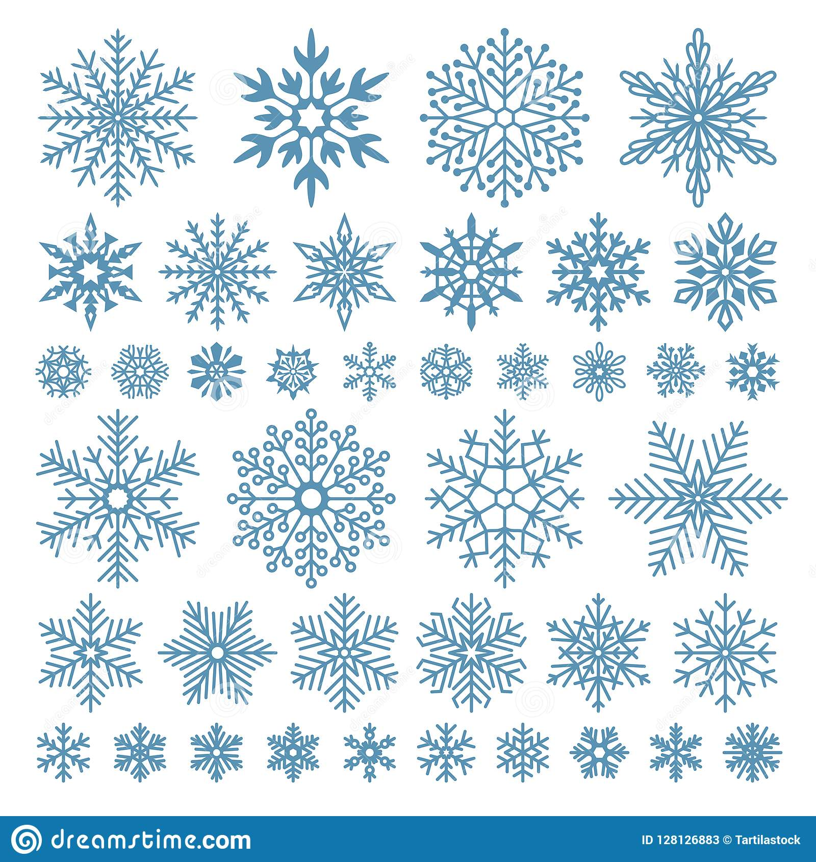 Fiocchi di neve piani Cristalli del fiocco di neve di inverno, forme della neve di natale e insieme di simboli fresco glassato di