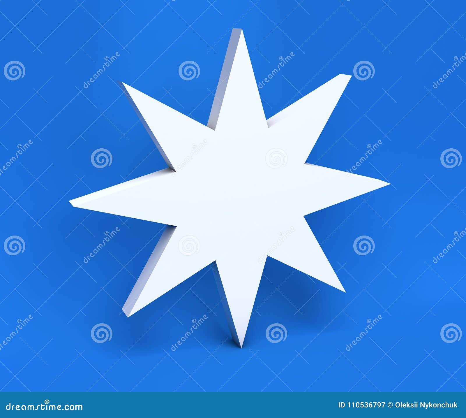 Fiocco di neve di natale bianco 3d isolato su fondo blu