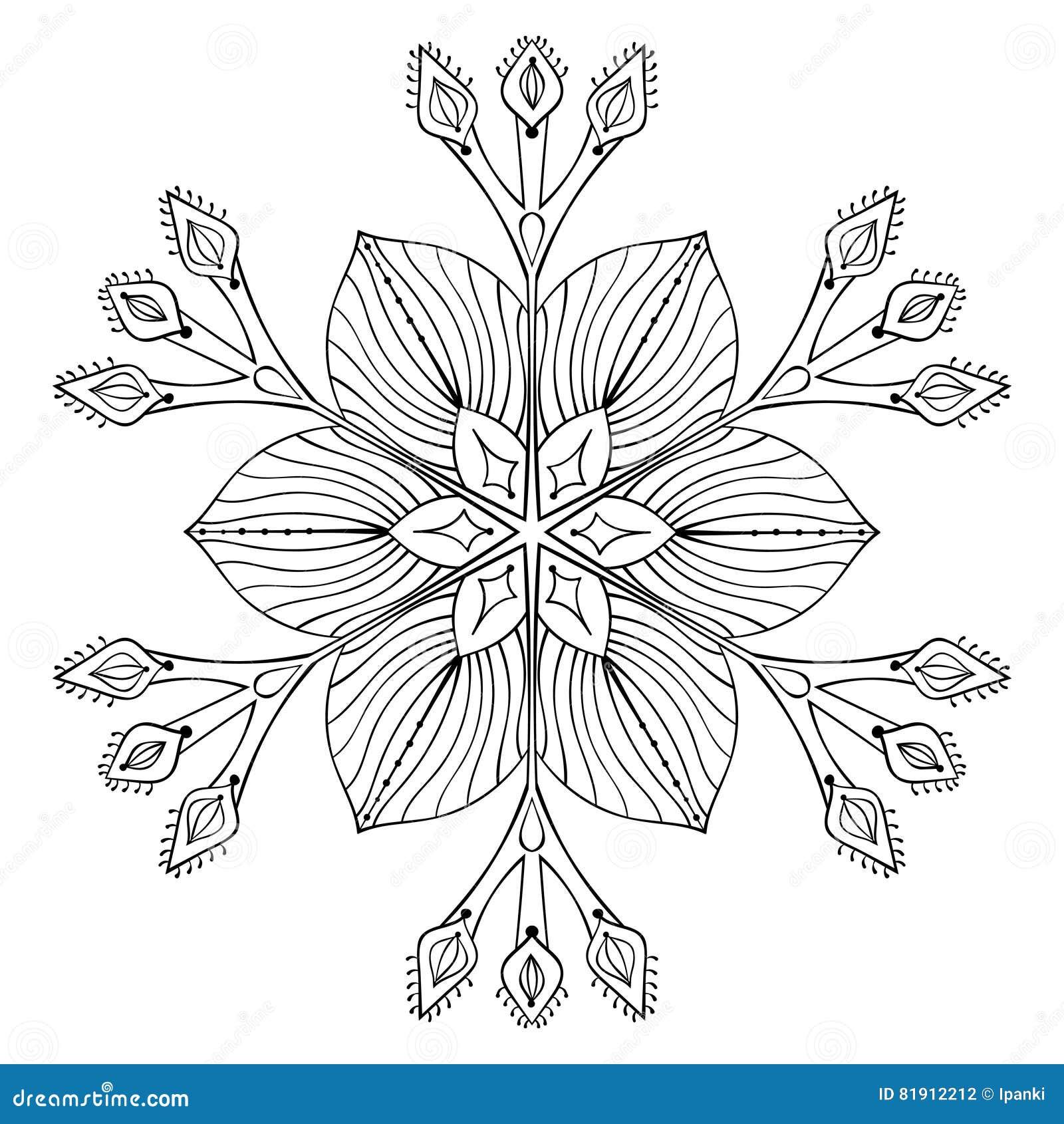 Fiocco nello stile di scarabocchio dello zentangle, mandala nera della neve di vettore per la a