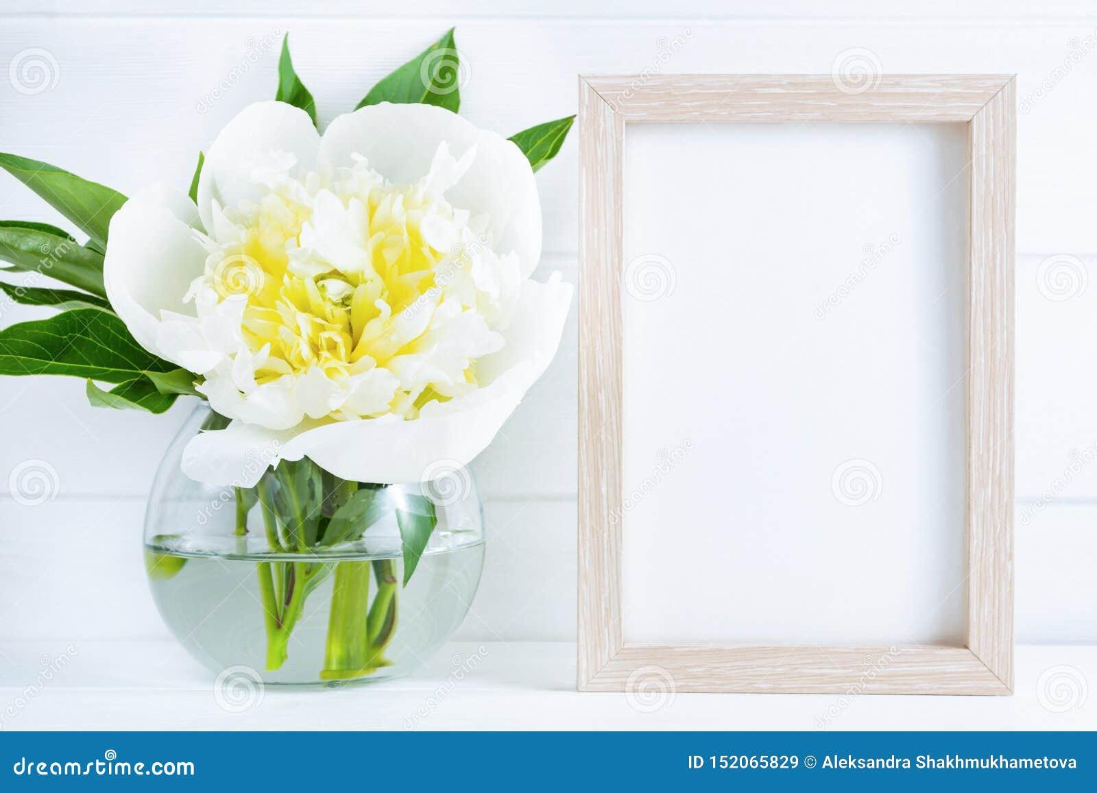Fiore bianco della peonia in vaso su fondo di legno bianco con lo spazio della copia o del modello