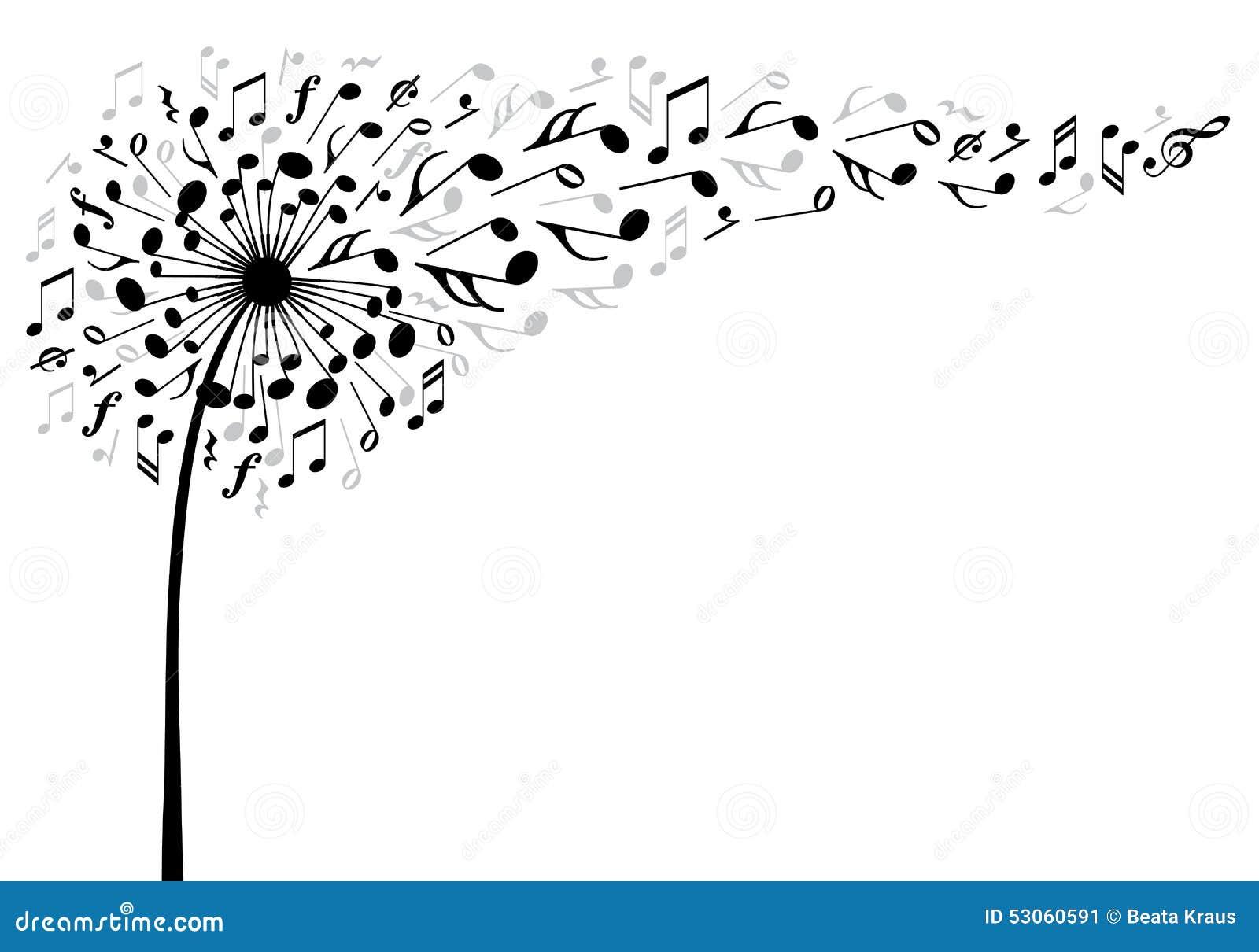 fiore del dente di leone di musica  vettore illustrazione vettoriale