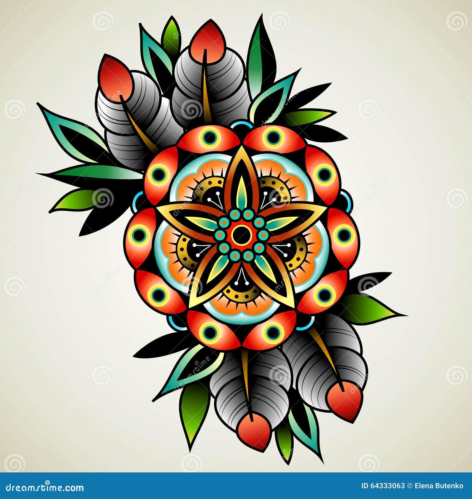 fiore del tatuaggio della vecchia scuola illustrazione