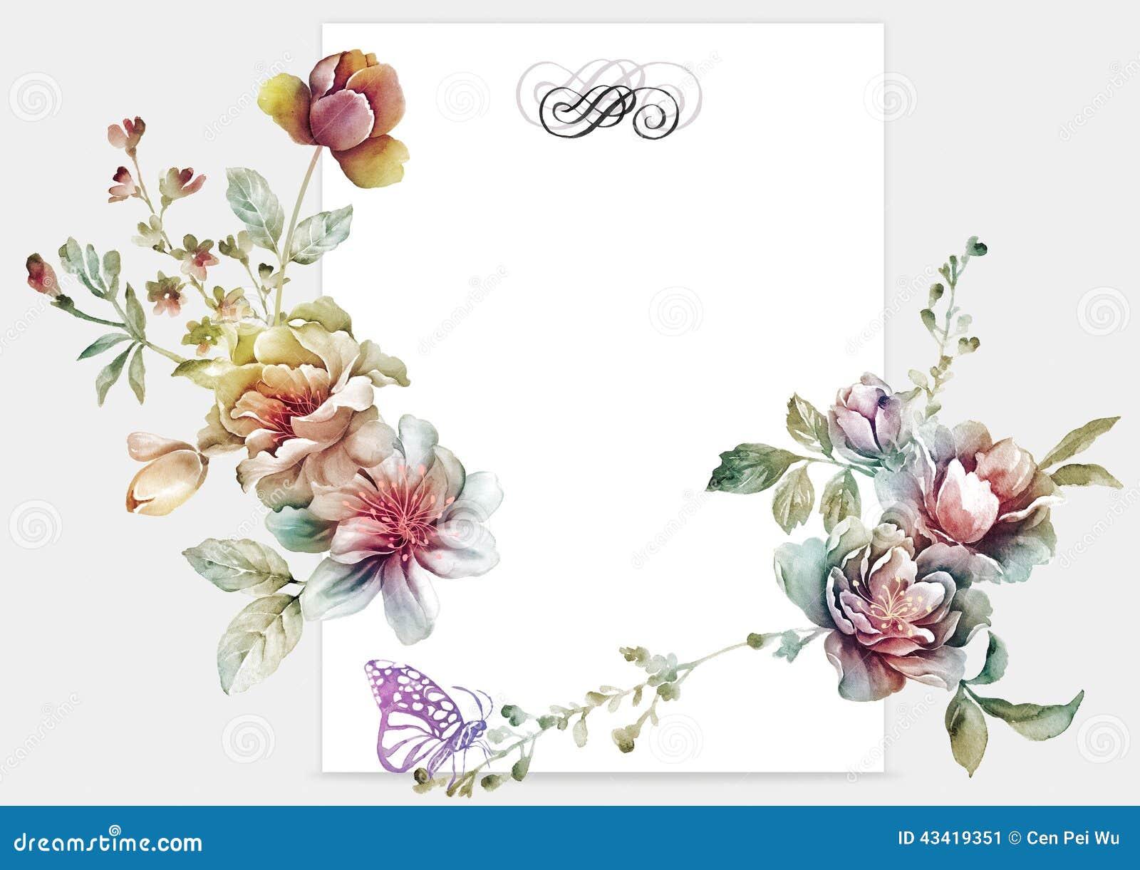 Fiore dell illustrazione dell acquerello nel fondo semplice