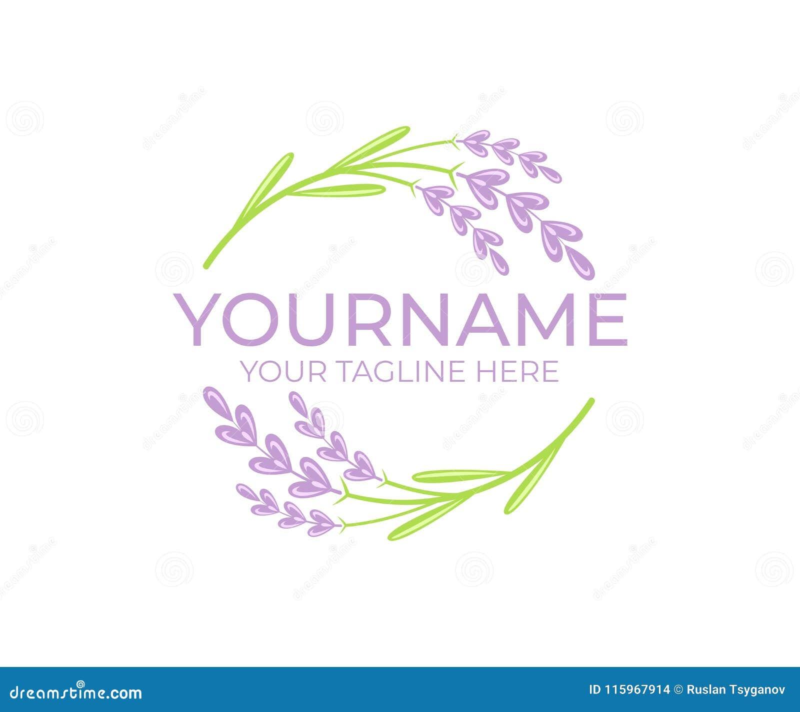 Fiore della lavanda e pianta, modello di logo Bellezza ed olio cosmetico naturale, progettazione vettoriale circolare