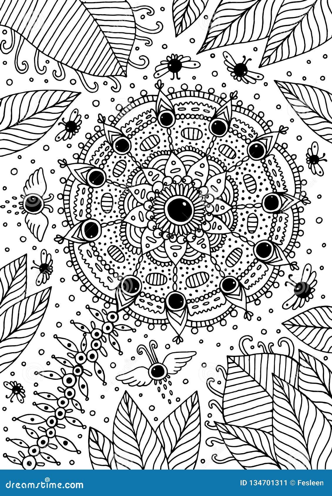 Fiore della mandala con le creature ed il paesaggio fantastici di estate Materiale illustrativo di fantasia Illustrazione di vett