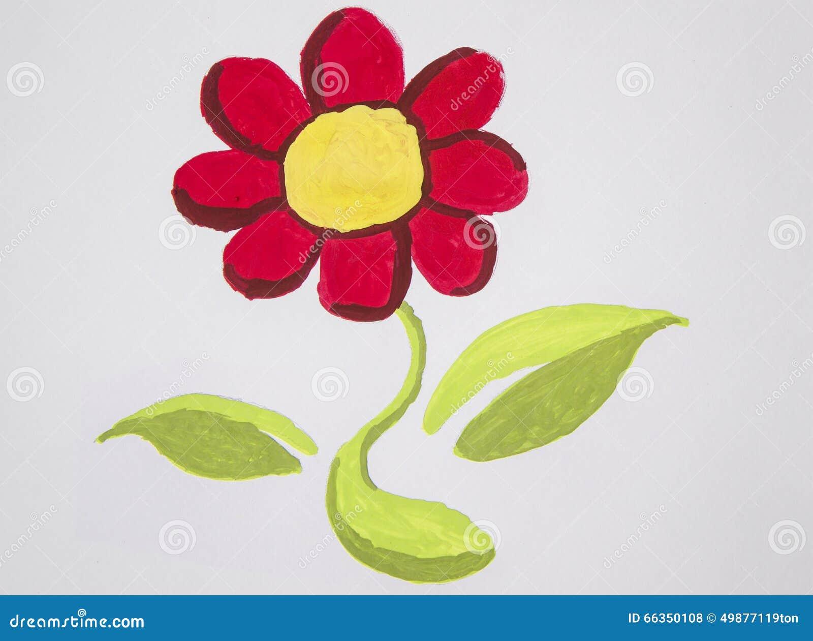 Amato Fiore Della Pittura Con L'acquerello Illustrazione di Stock  KF57