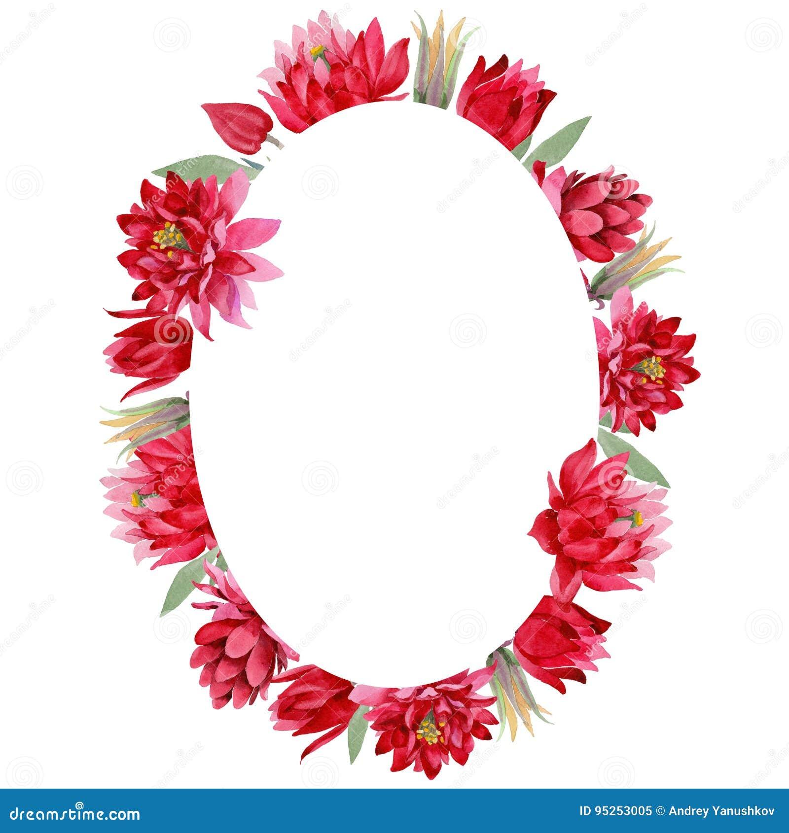 Fiore di Aquilegia del Wildflower in una corona di stile dell acquerello