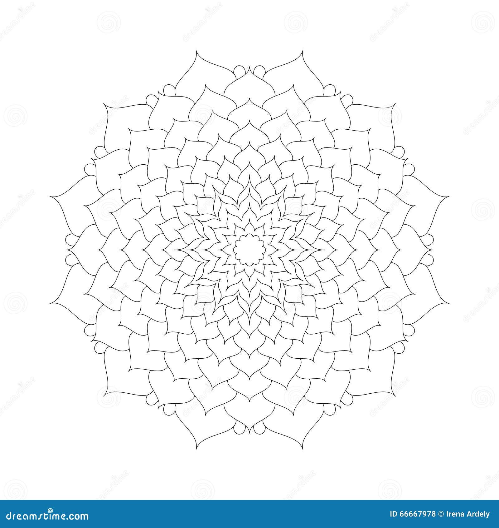 Fiore di loto circolare della mandala del modello in - Modello di base del fiore ...