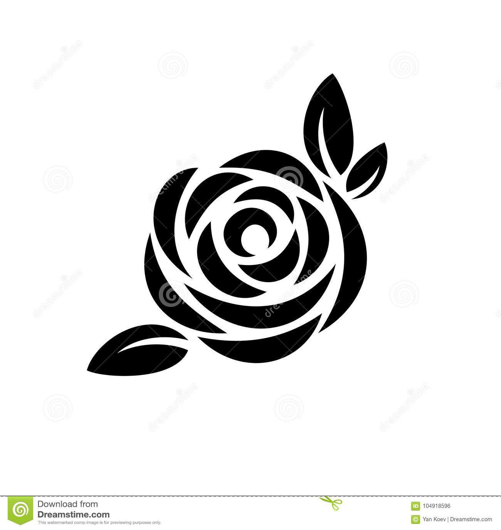 Fiore di Rosa con il logo nero della siluetta delle foglie