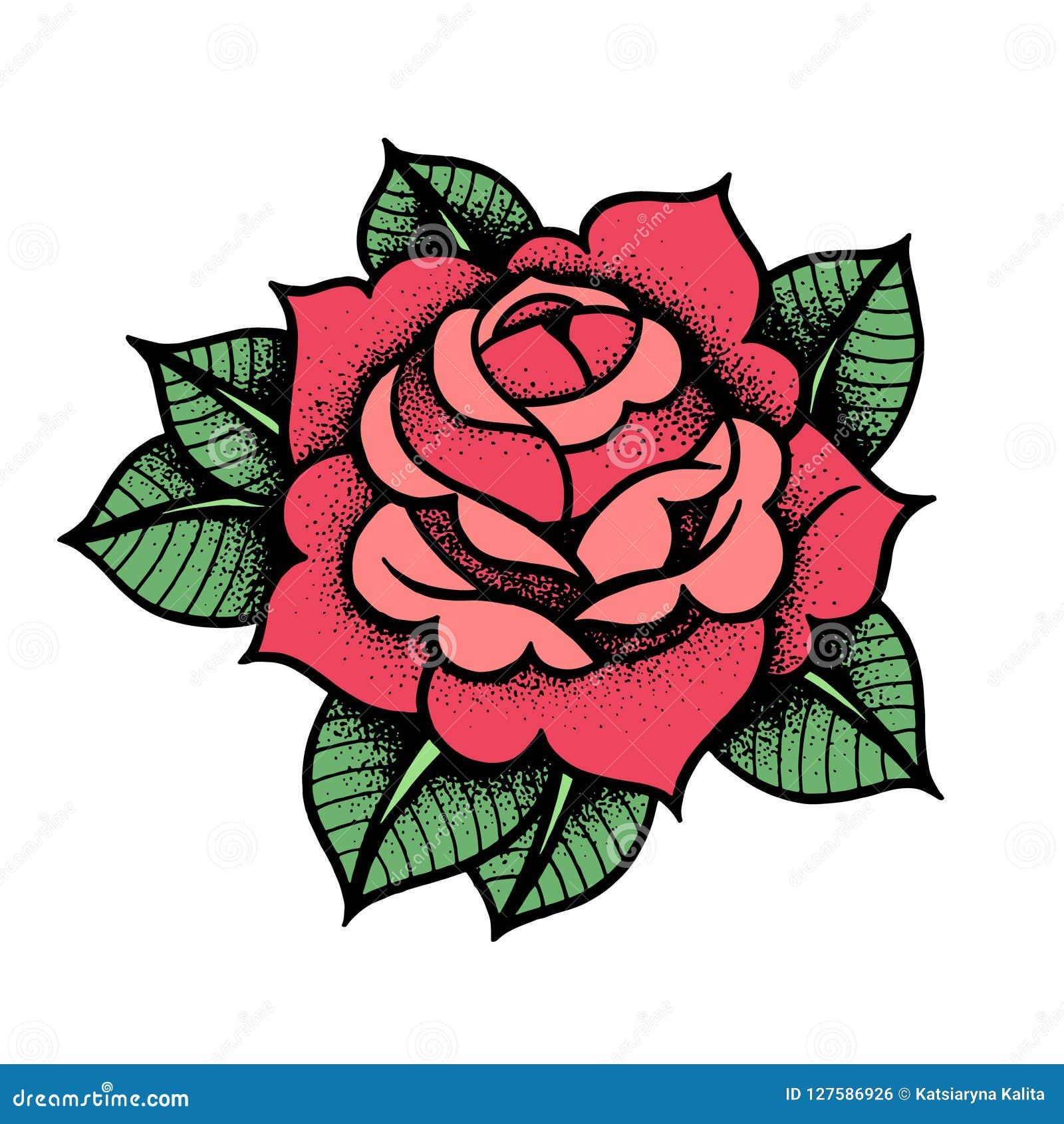 Fiore di Rosa del tatuaggio Vettore isolato arte dell illustrazione di vettore