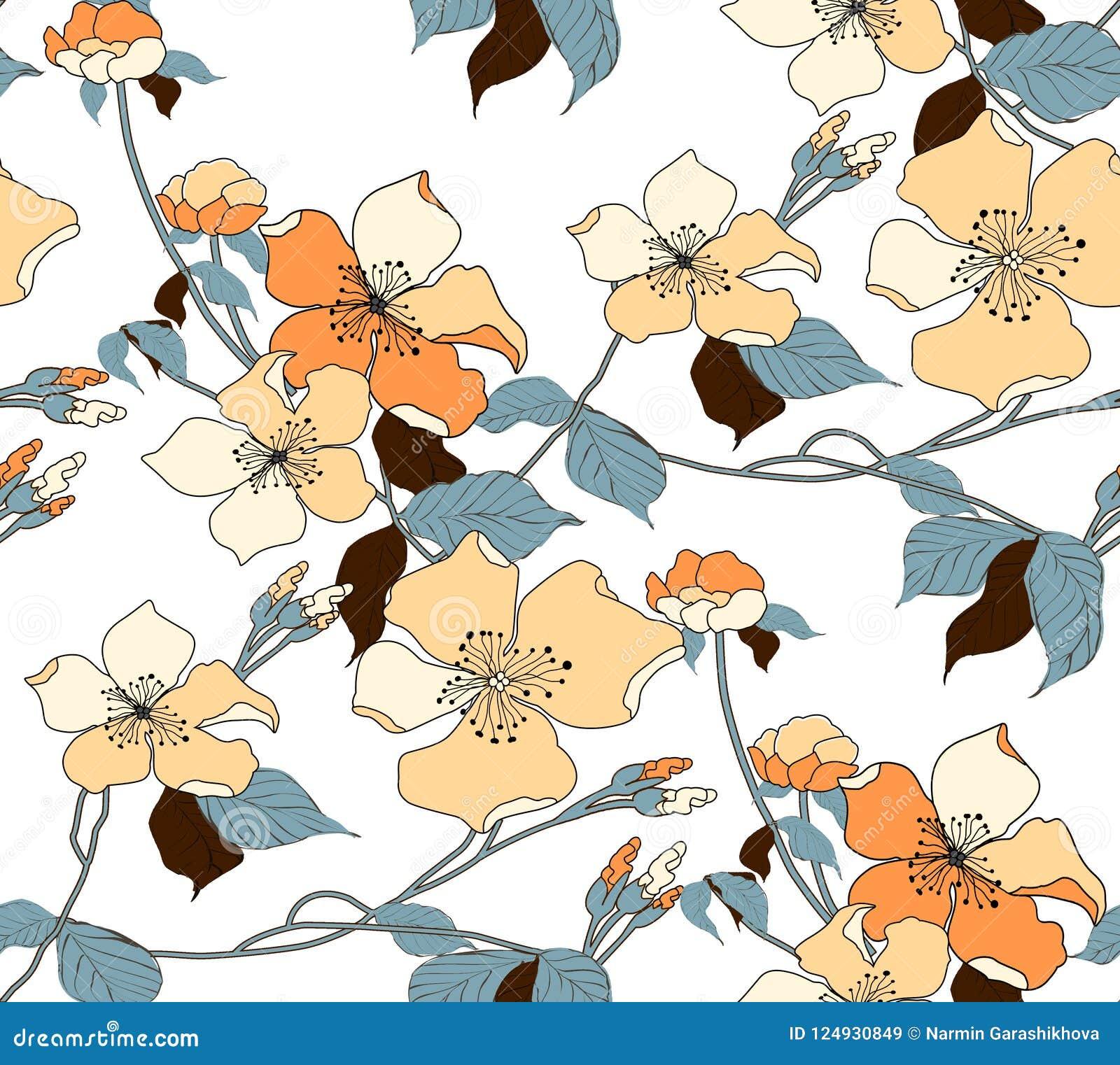 Fiore Fondo senza cuciture Modello floreale dell illustrazione